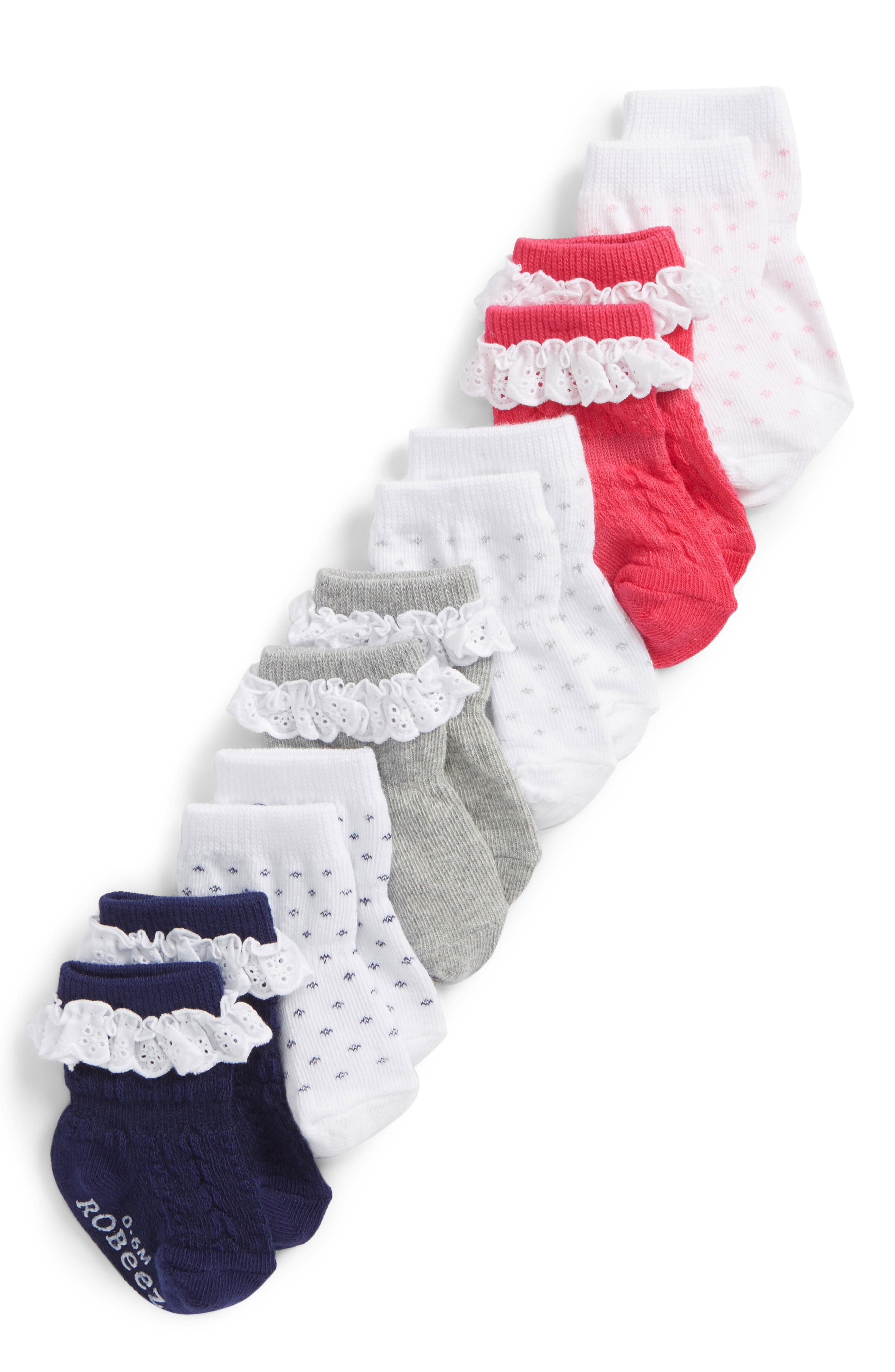 Pretty In Lace 6-Pack Socks,                             Main thumbnail 1, color,                             100