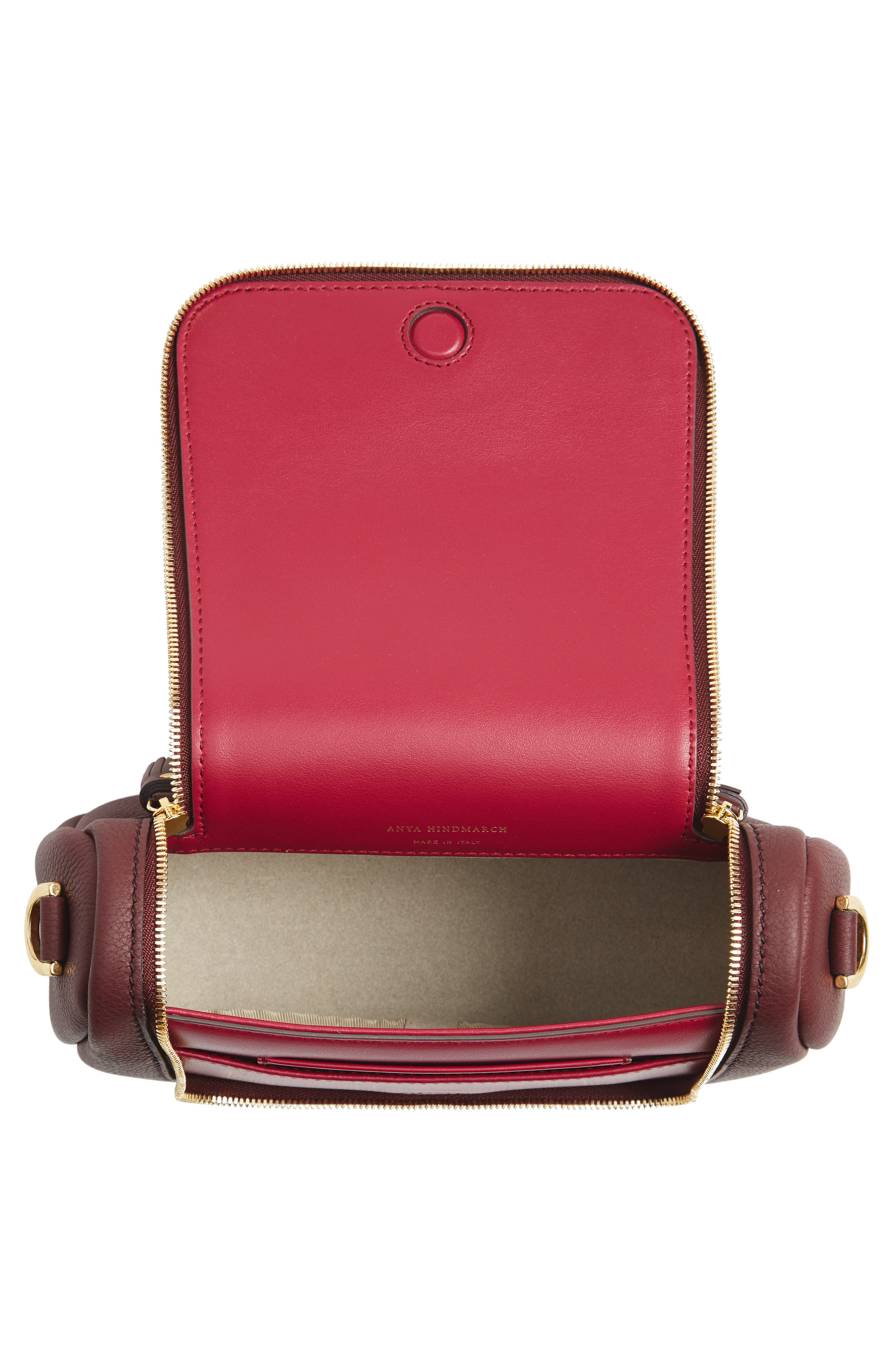 Small Vere Leather Crossbody Satchel,                             Alternate thumbnail 4, color,                             CLARET