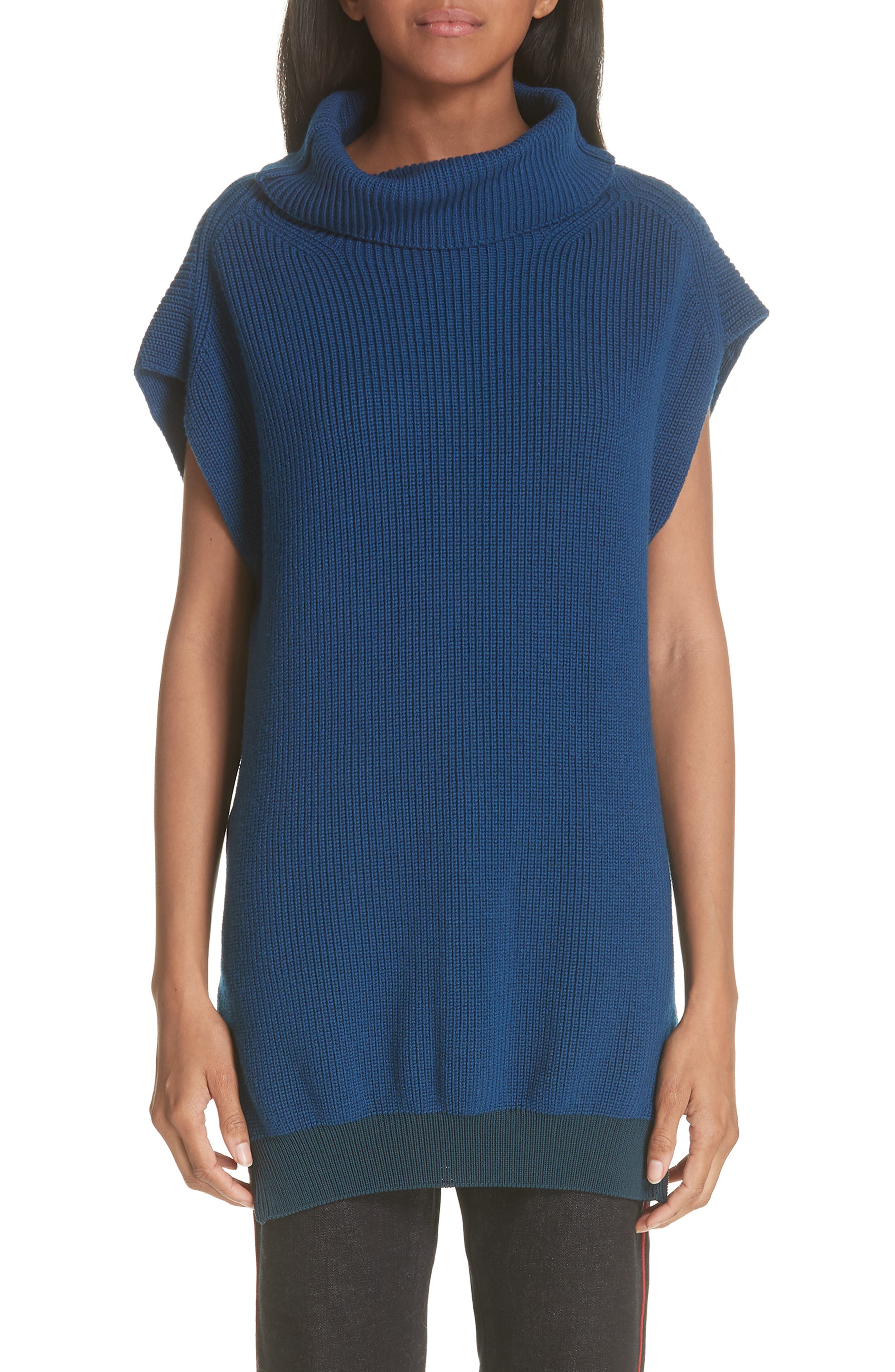 Wool Turtleneck Vest,                         Main,                         color, SHADOW BLUE