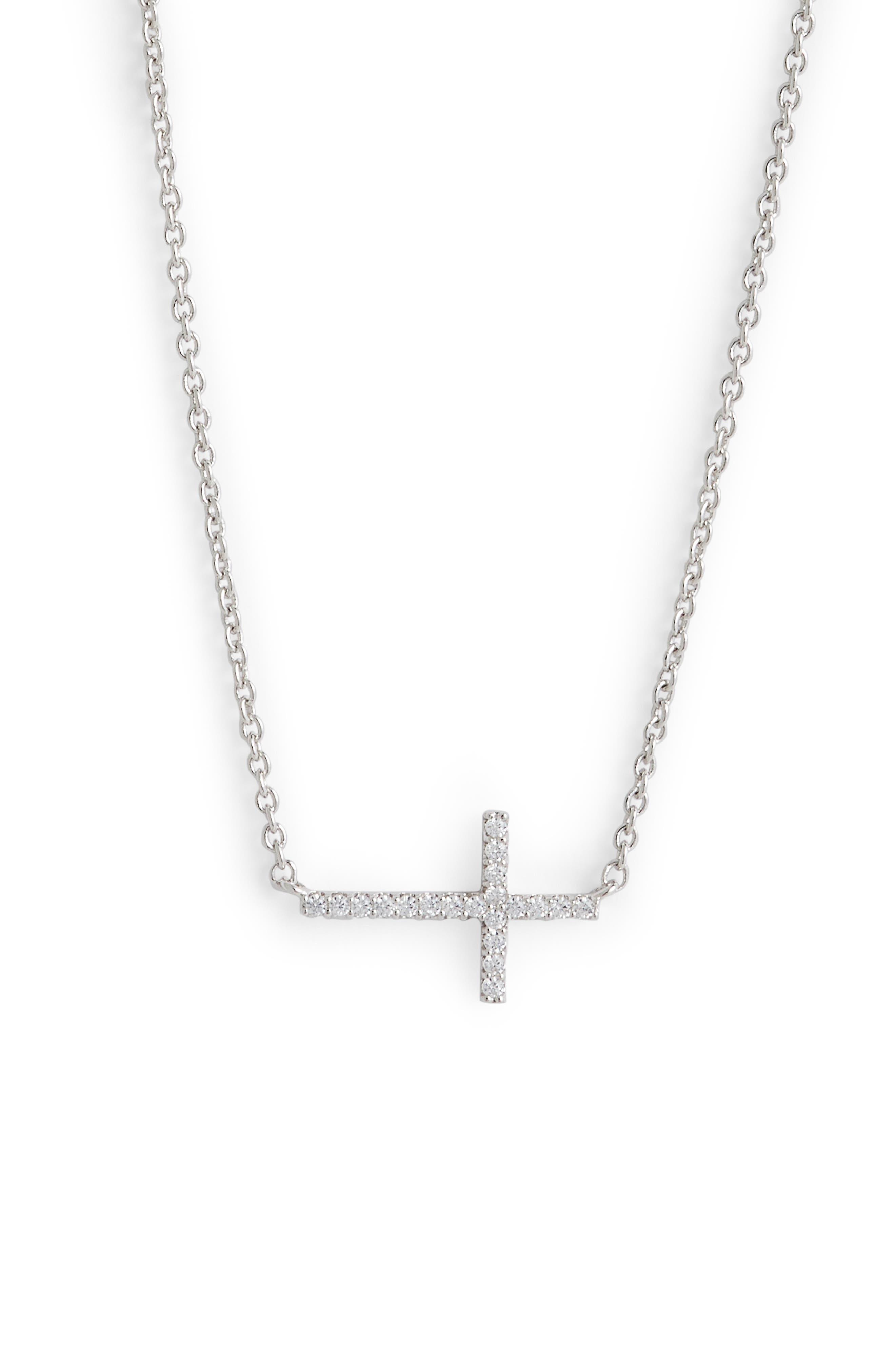 Cross Pendant Necklace, Main, color, SILVER