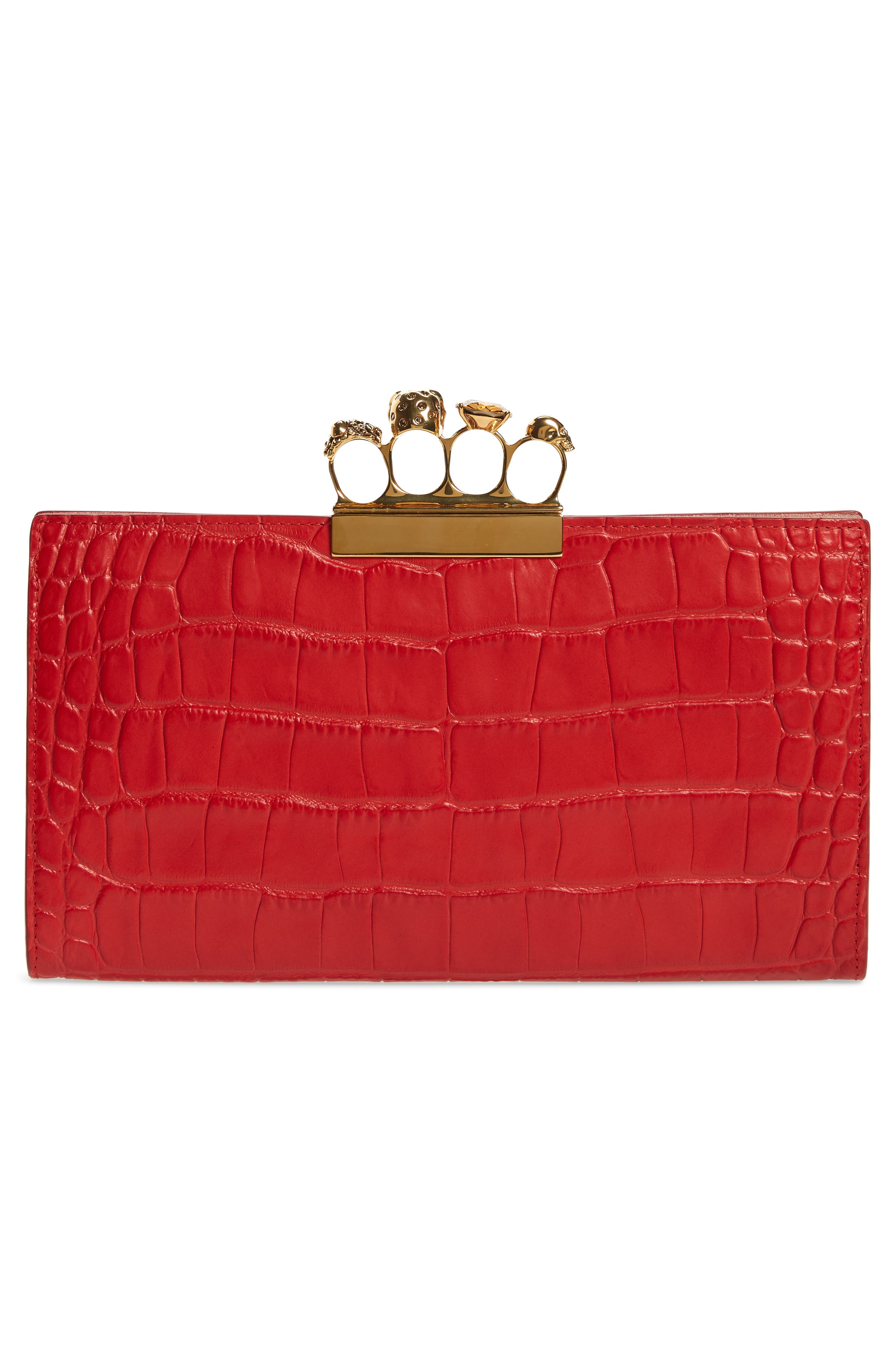 Croc Embossed Leather Knuckle Clutch,                             Alternate thumbnail 3, color,                             SCARLET RED
