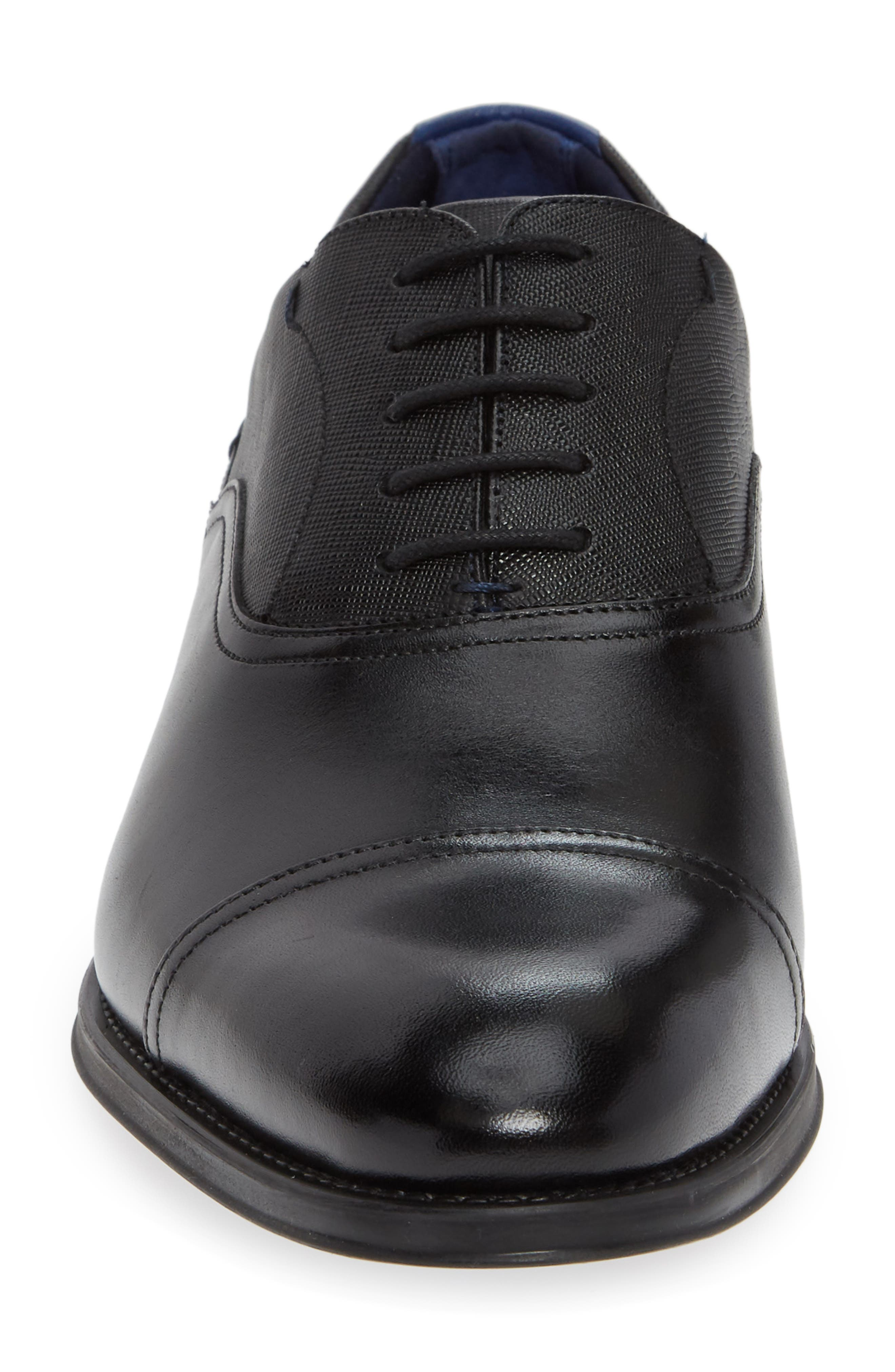 Fhares Cap Toe Oxford,                             Alternate thumbnail 4, color,                             BLACK