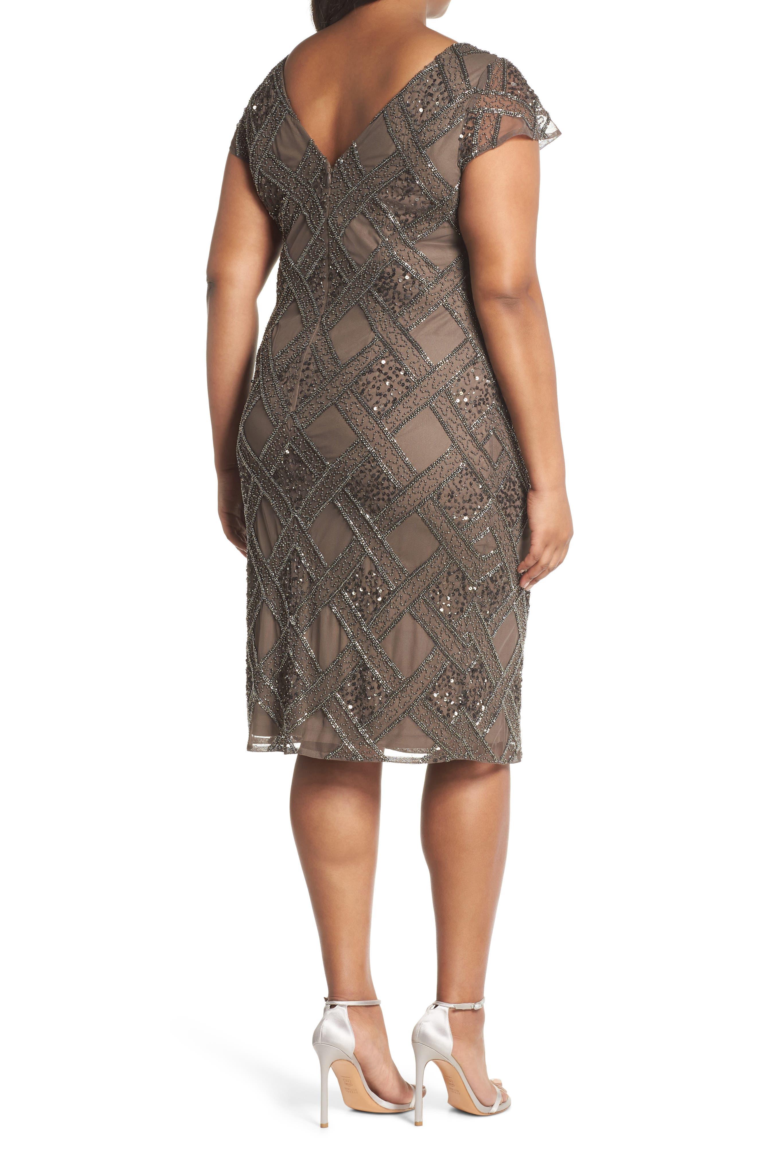 ADRIANNA PAPELL,                             Beaded Cap Sleeve Sheath Dress,                             Alternate thumbnail 2, color,                             050