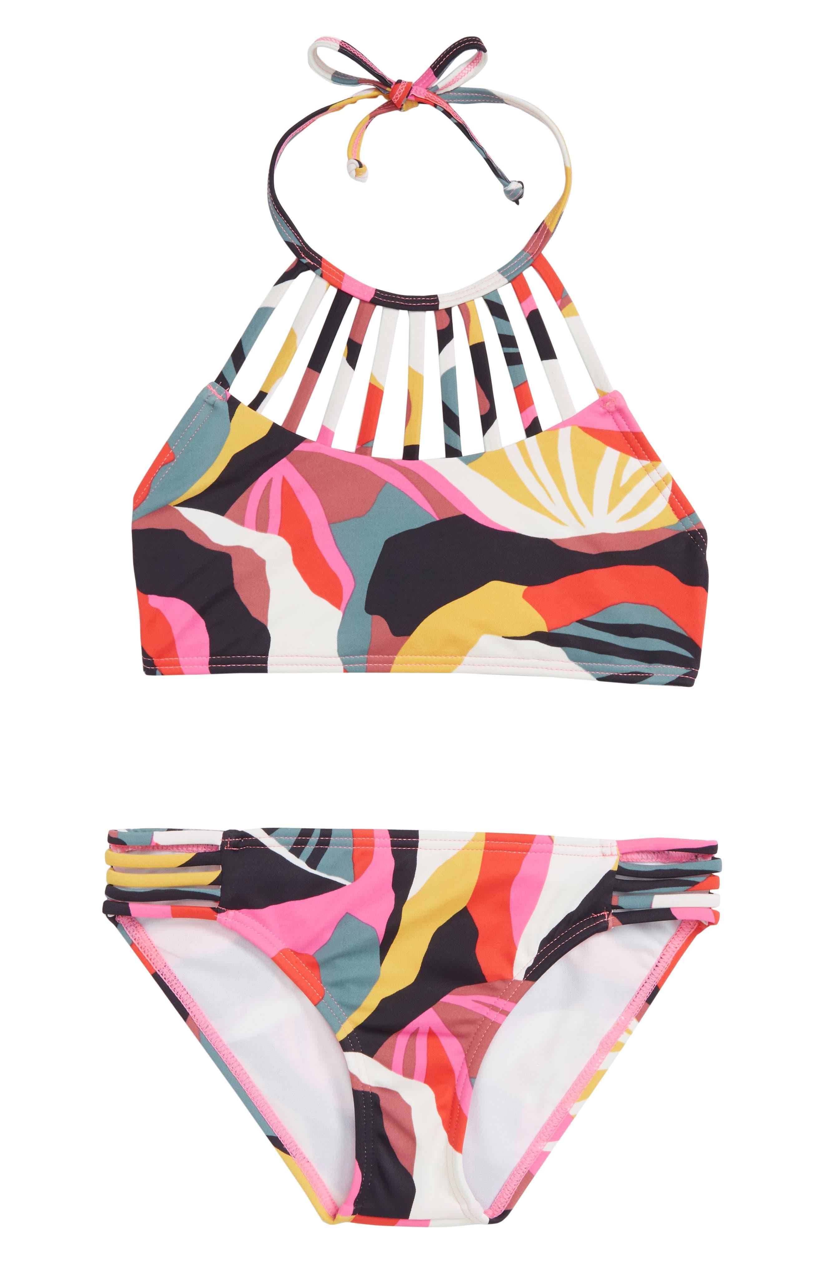 Girls Billabong Dream Time TwoPiece Halter Swimsuit Size 14  Pink