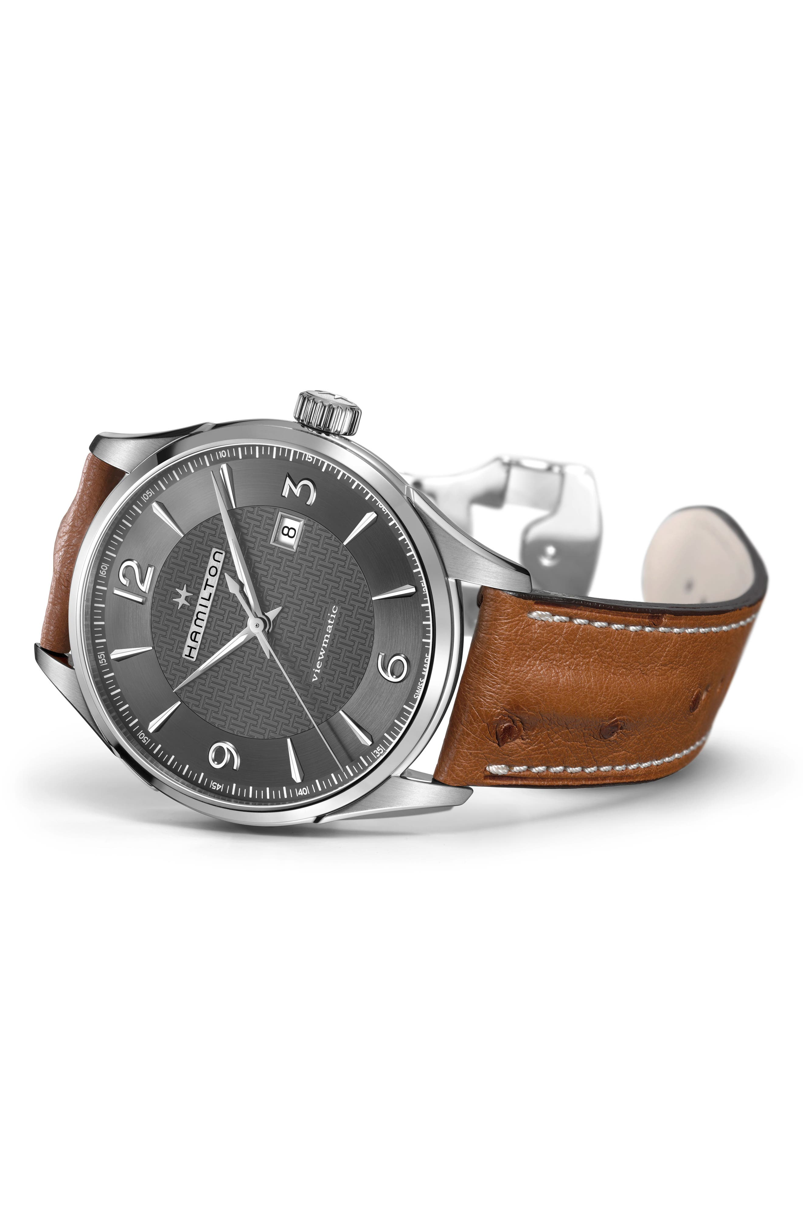 Jazzmaster Viewmatic Auto Ostrich Leather Strap Watch, 44mm,                             Alternate thumbnail 3, color,                             BROWN/ GUNMETAL/ SILVER