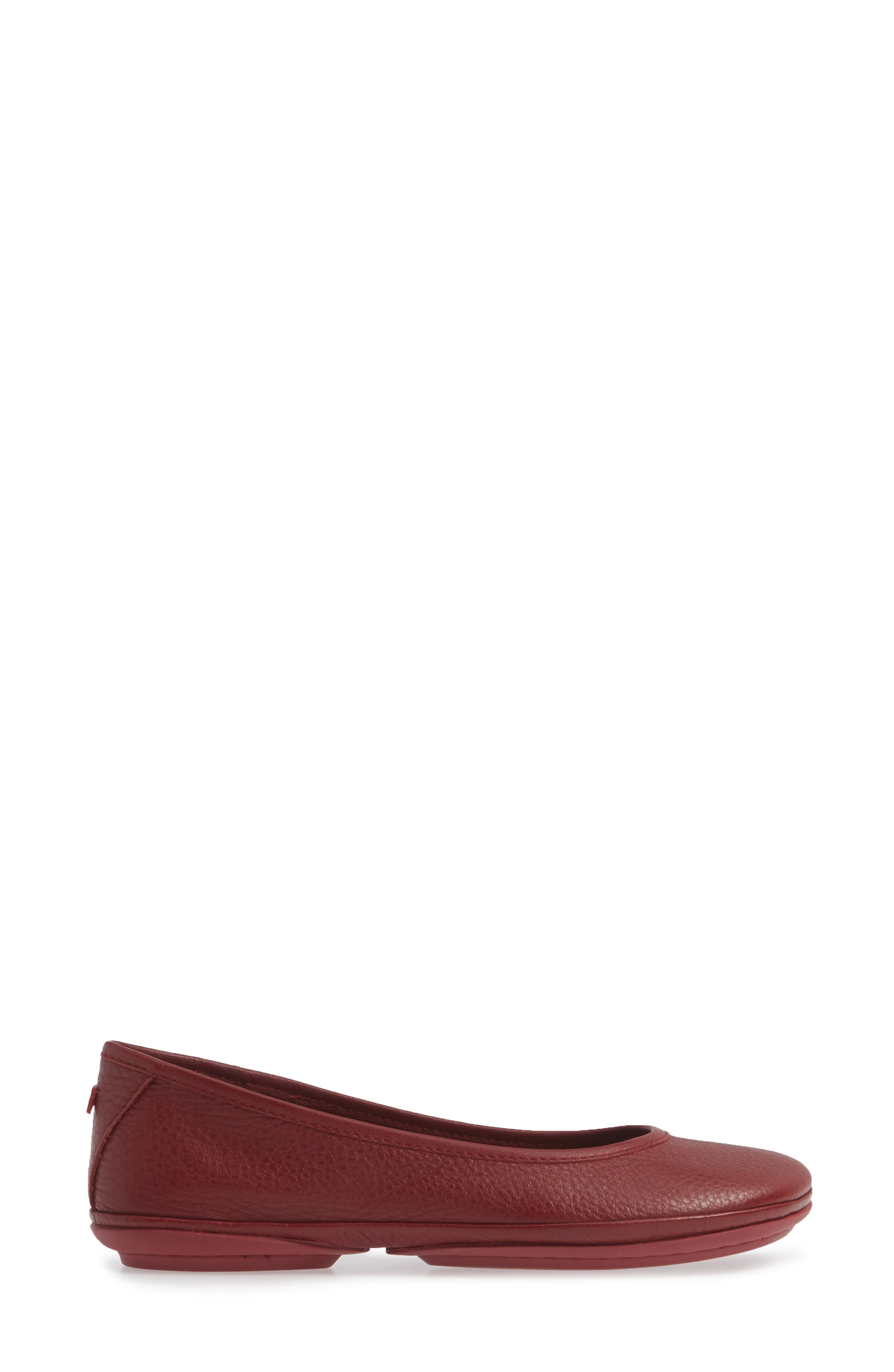 Right Nina Ballet Flat,                             Alternate thumbnail 3, color,                             RED LEATHER