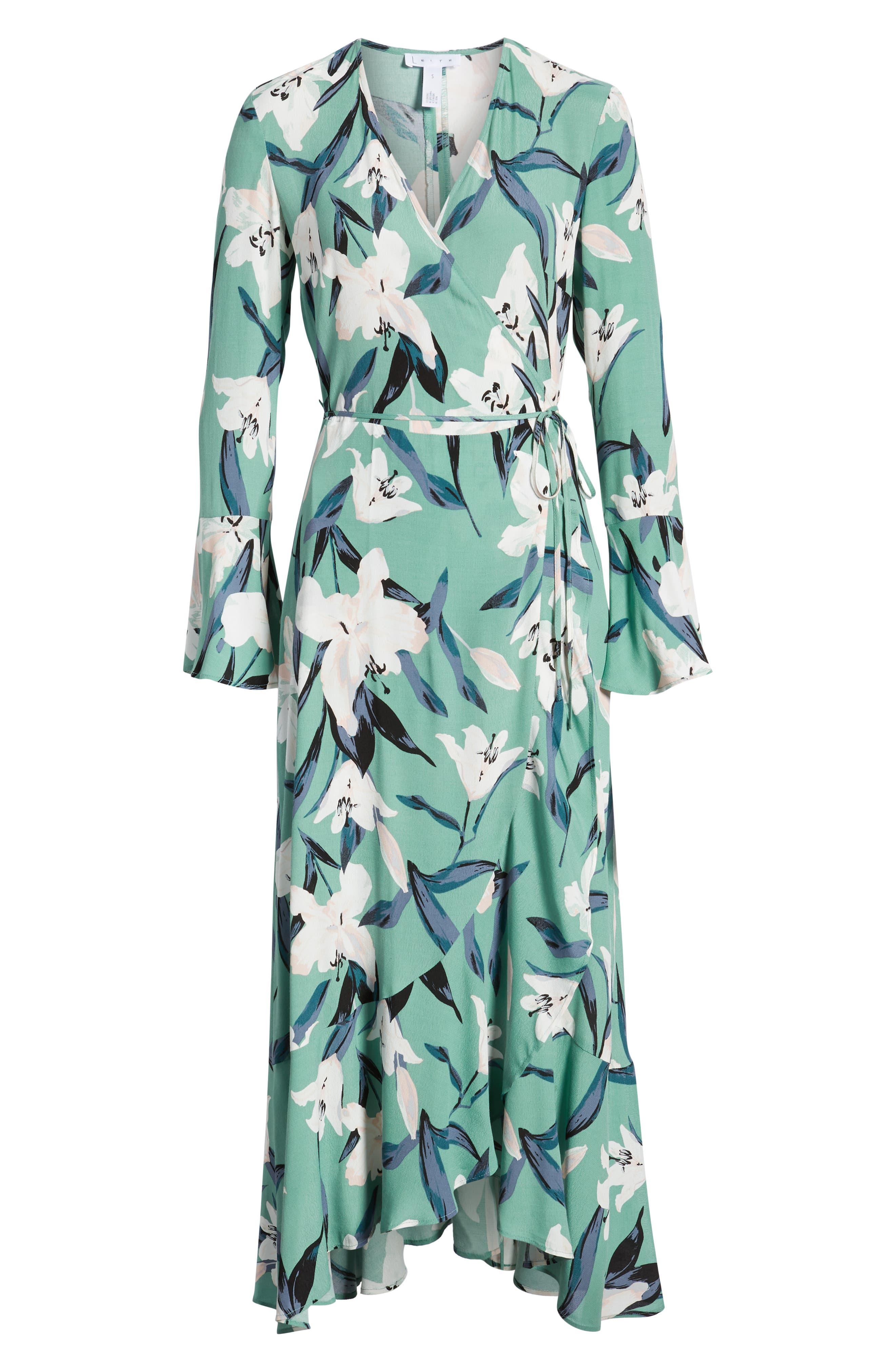 LEITH,                             Bell Sleeve Wrap Midi Dress,                             Alternate thumbnail 7, color,                             GREEN WING ROMANTIC FLR