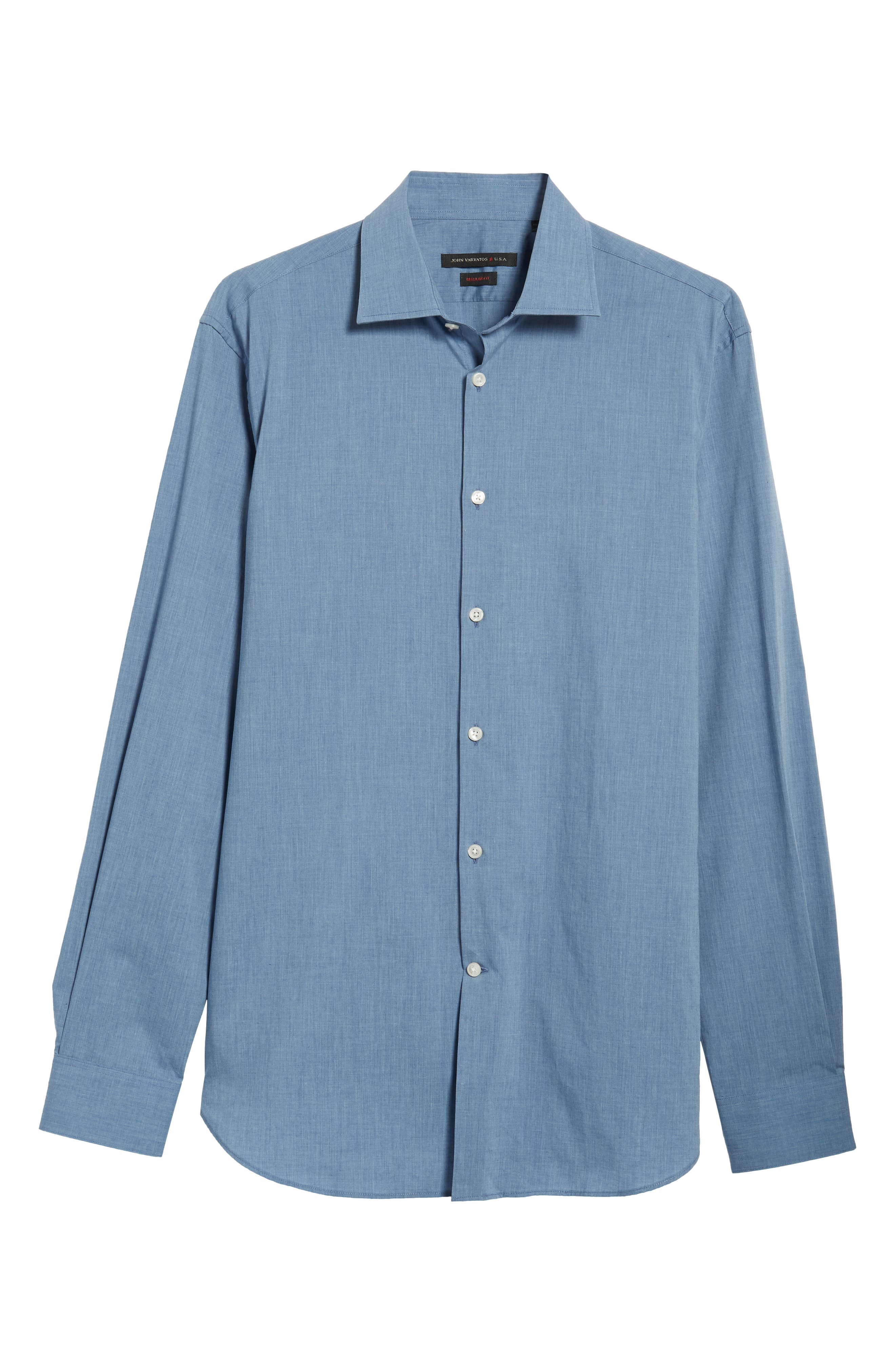 Regular Fit Solid Dress Shirt,                             Alternate thumbnail 5, color,                             BLUE HEATHER