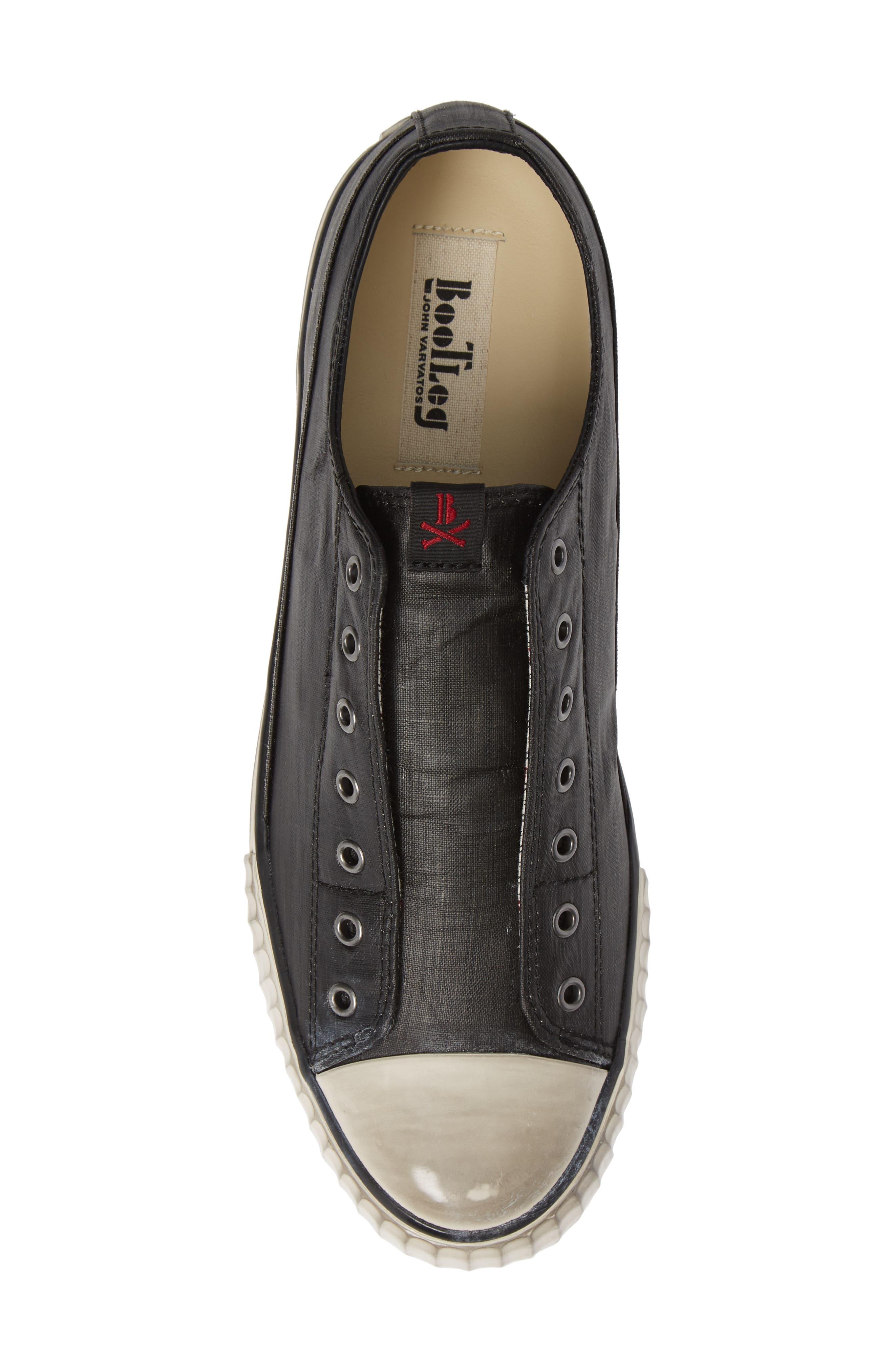 Bootleg Linen Laceless Sneaker,                             Alternate thumbnail 5, color,                             BLACK COATED LINEN