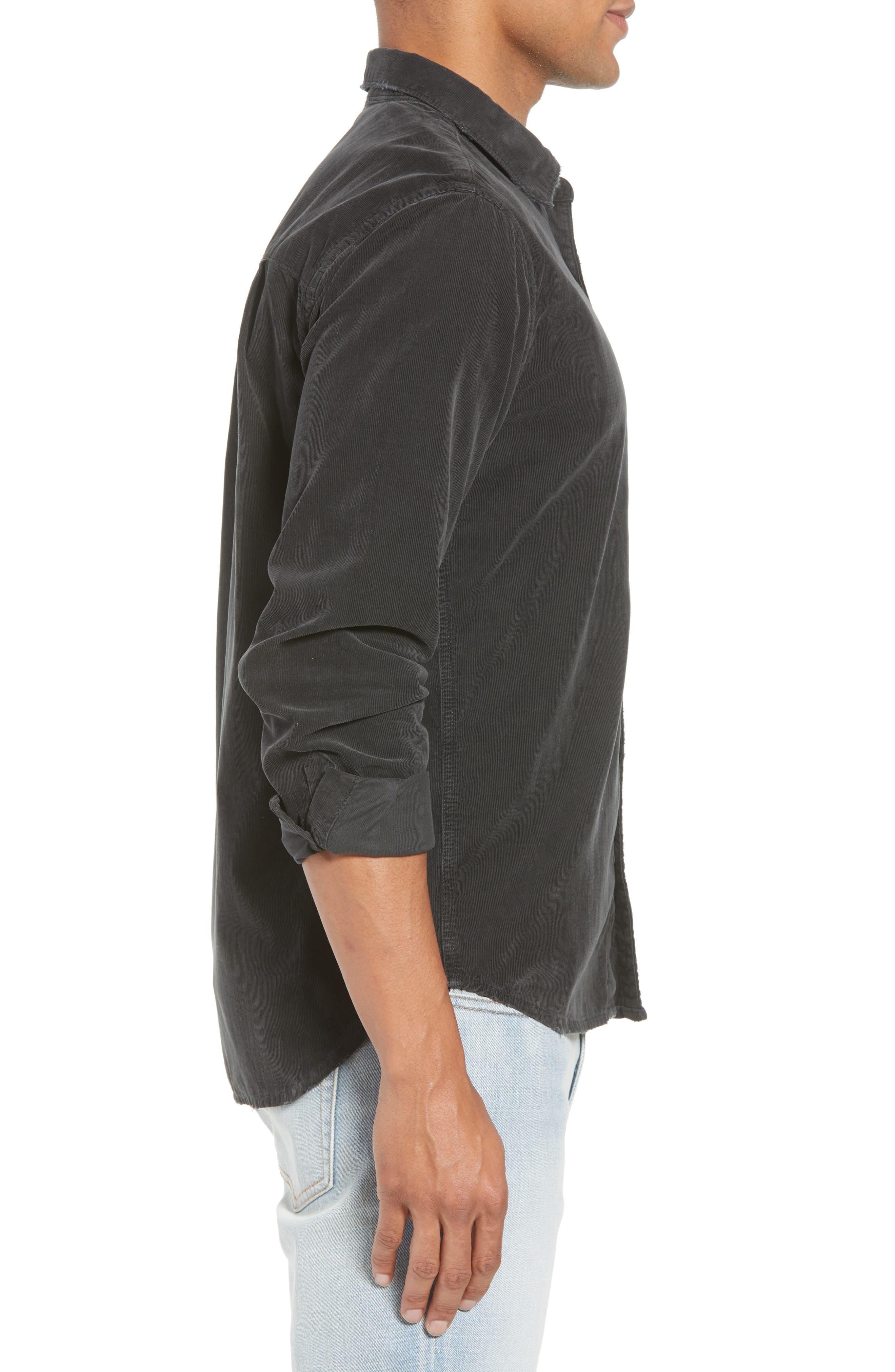 Slim Fit Corduroy Shirt,                             Alternate thumbnail 4, color,                             001