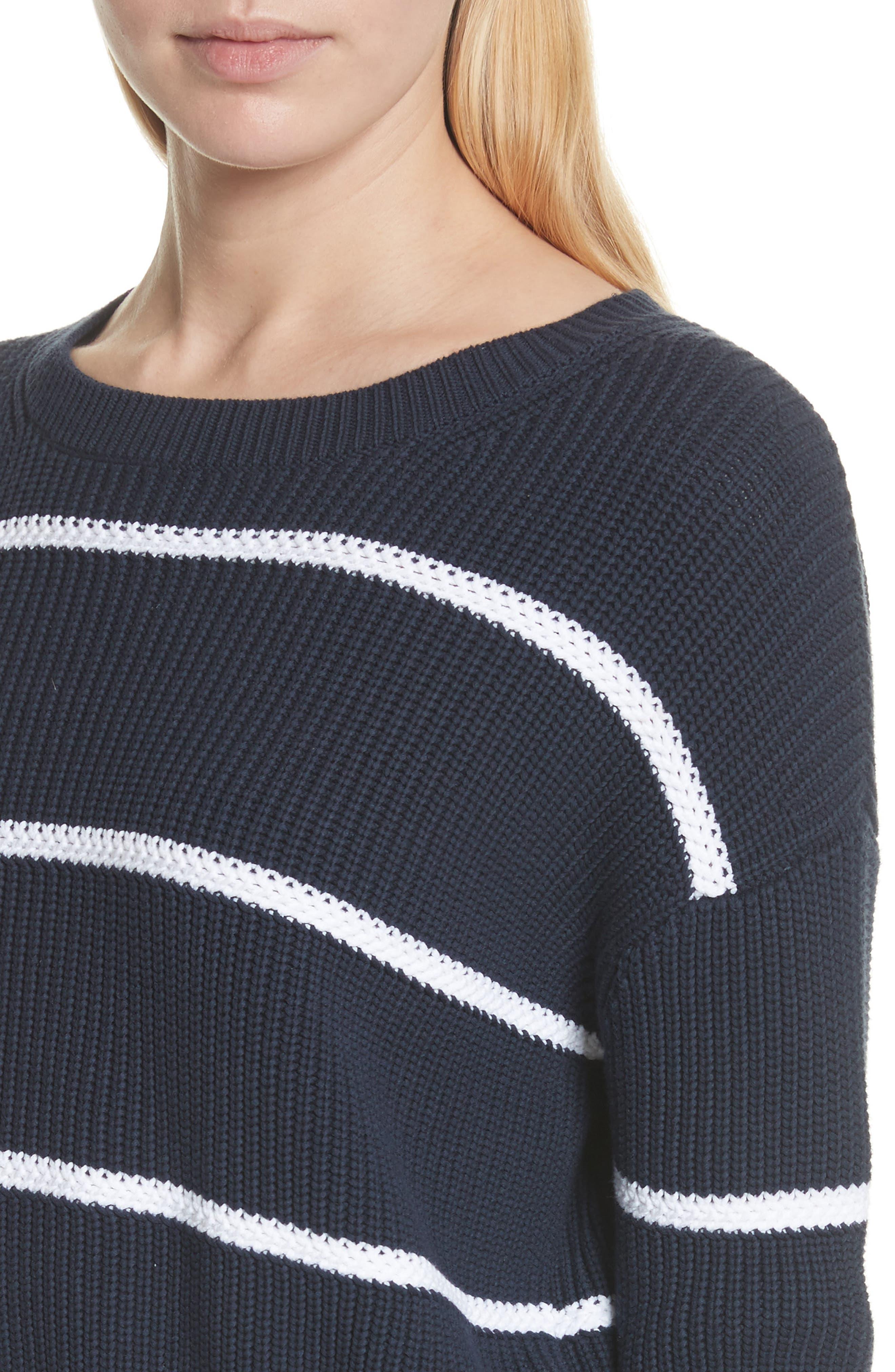 Cotton Blend Rib Knit Stripe Sweater,                             Alternate thumbnail 8, color,
