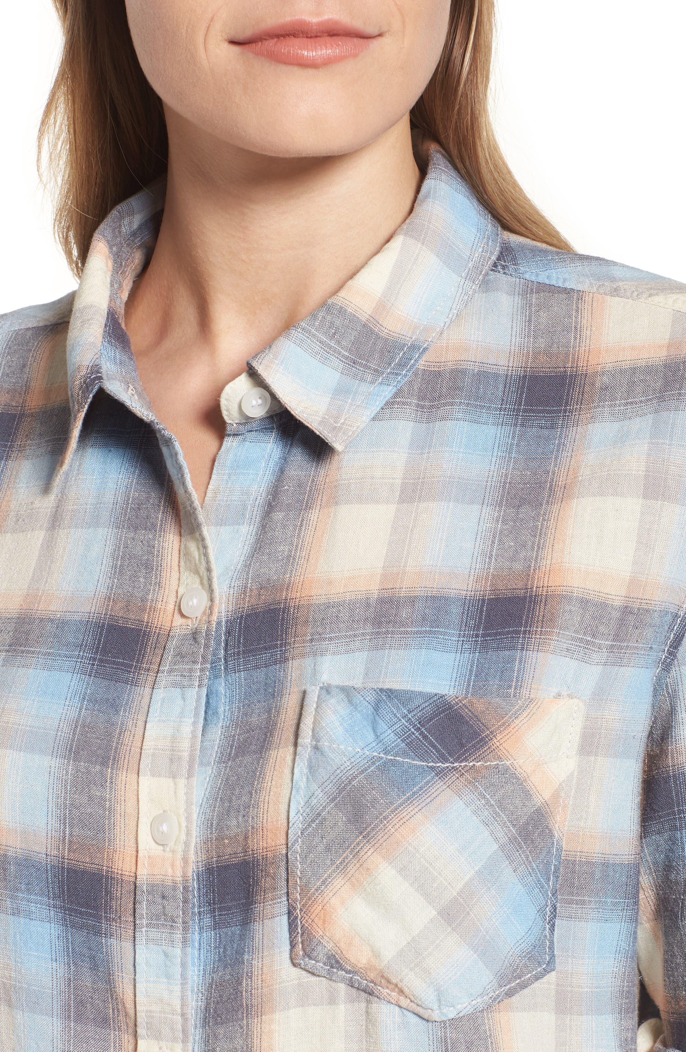 Plaid Linen Blend Shirt,                             Alternate thumbnail 4, color,                             420
