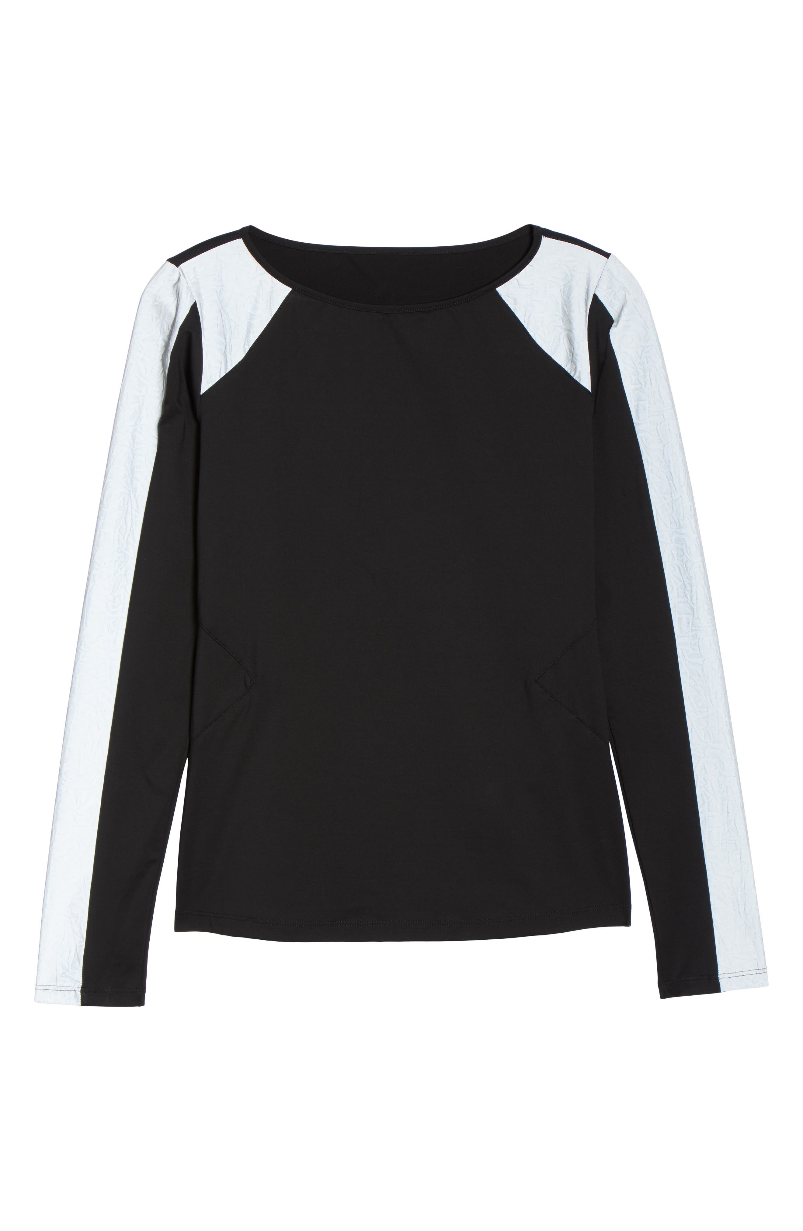 BoomBoom Athletica Reflective Body-Con Long Sleeve Tee,                             Alternate thumbnail 7, color,                             005