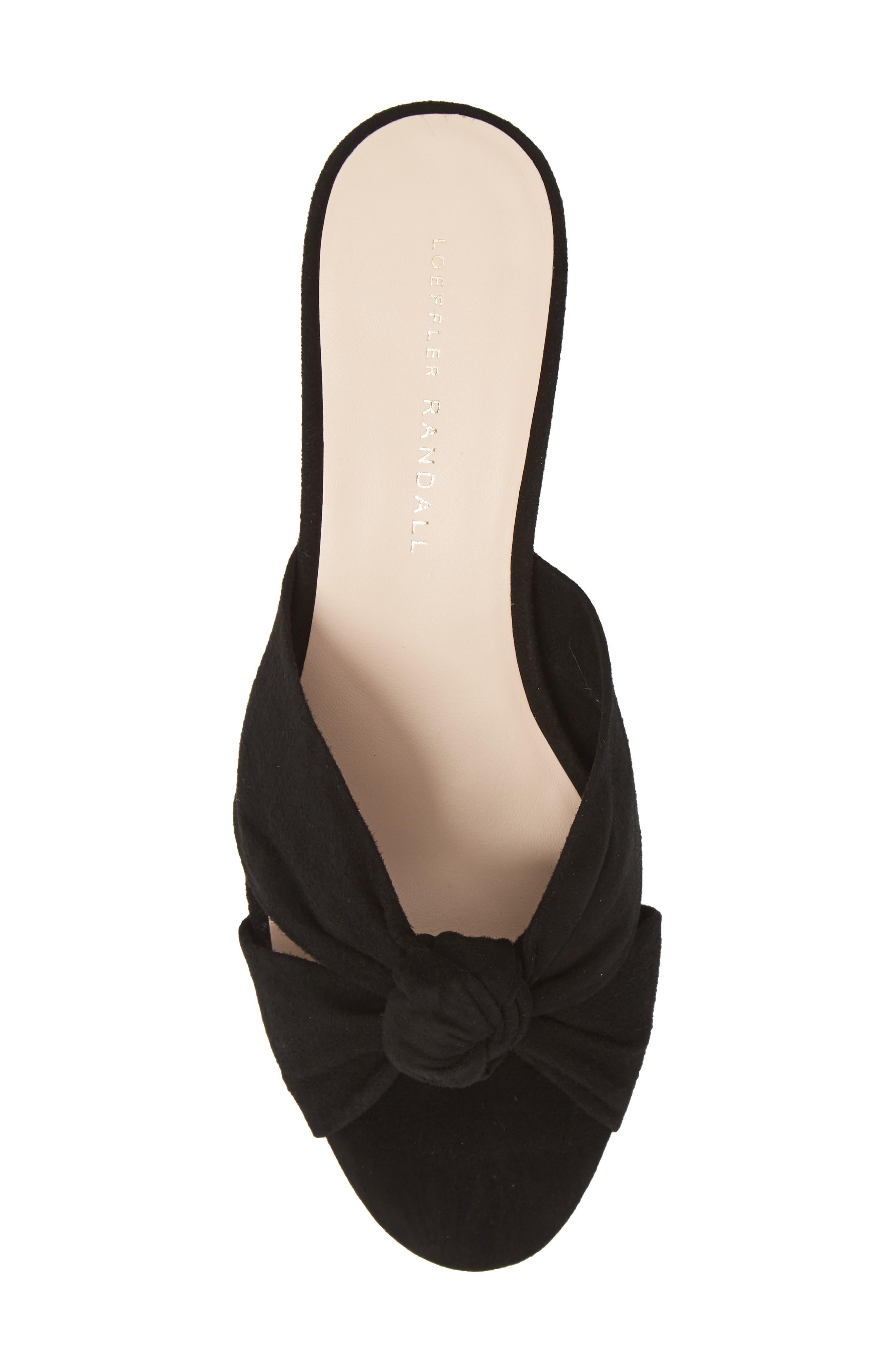 Loeffler Randal Celeste Knotted Slide Sandal,                             Alternate thumbnail 5, color,                             BLACK