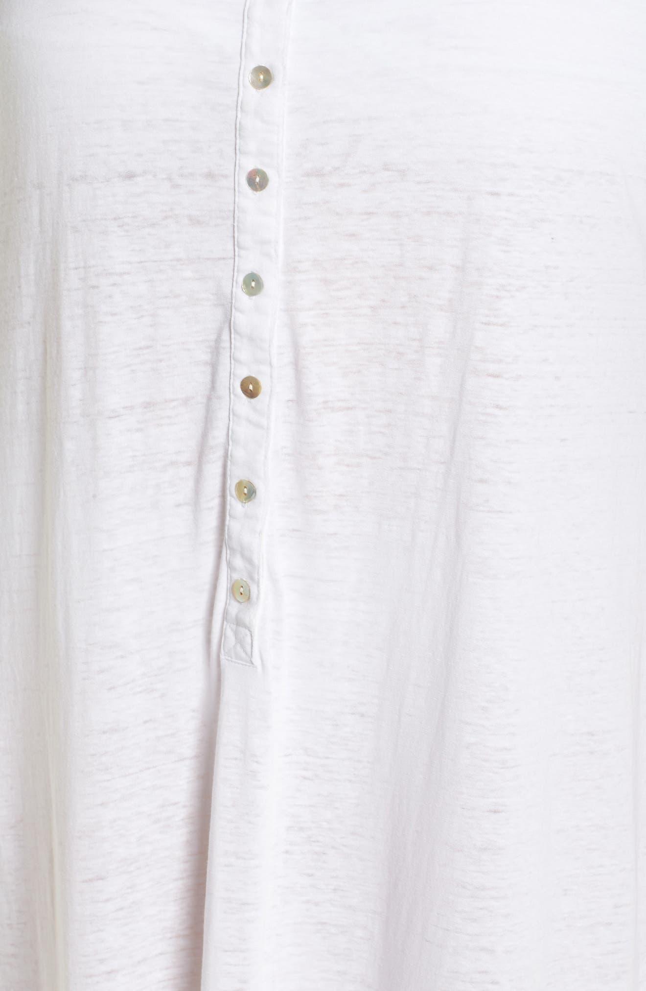 Henley Cover-Up Dress,                             Alternate thumbnail 5, color,                             100