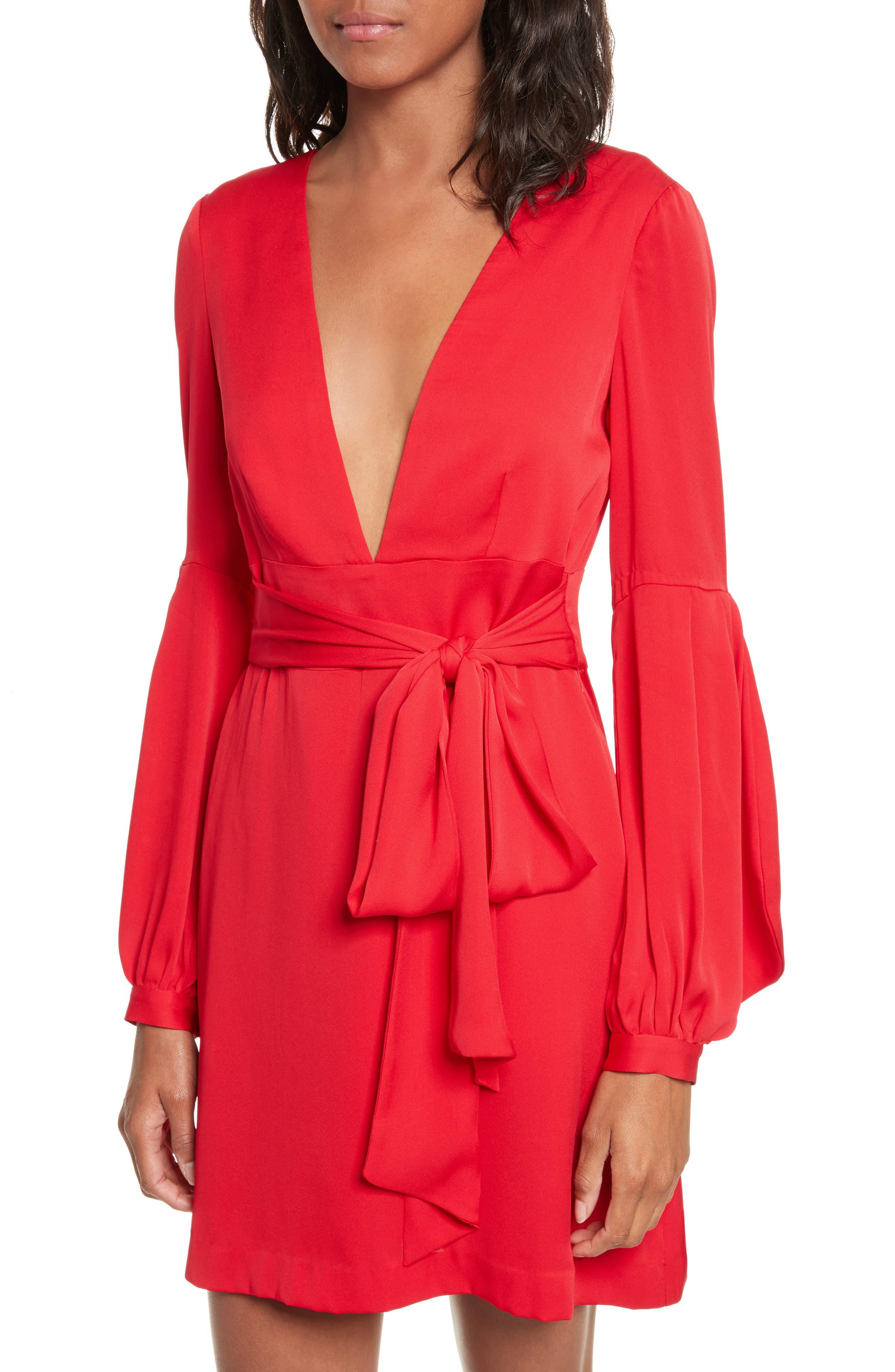 Kayla Deep V-Neck Stretch Silk Dress,                             Alternate thumbnail 3, color,