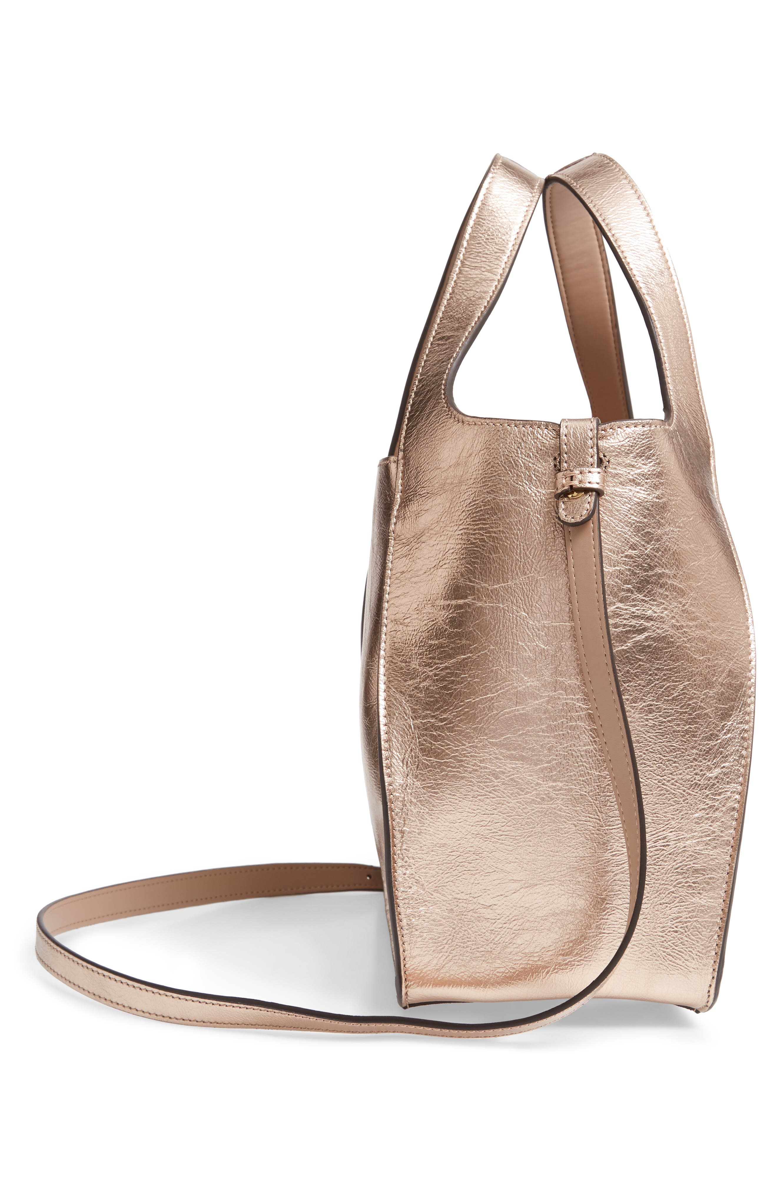 Perforated Logo Metallic Faux Leather Satchel,                             Alternate thumbnail 5, color,                             ROSE GOLD
