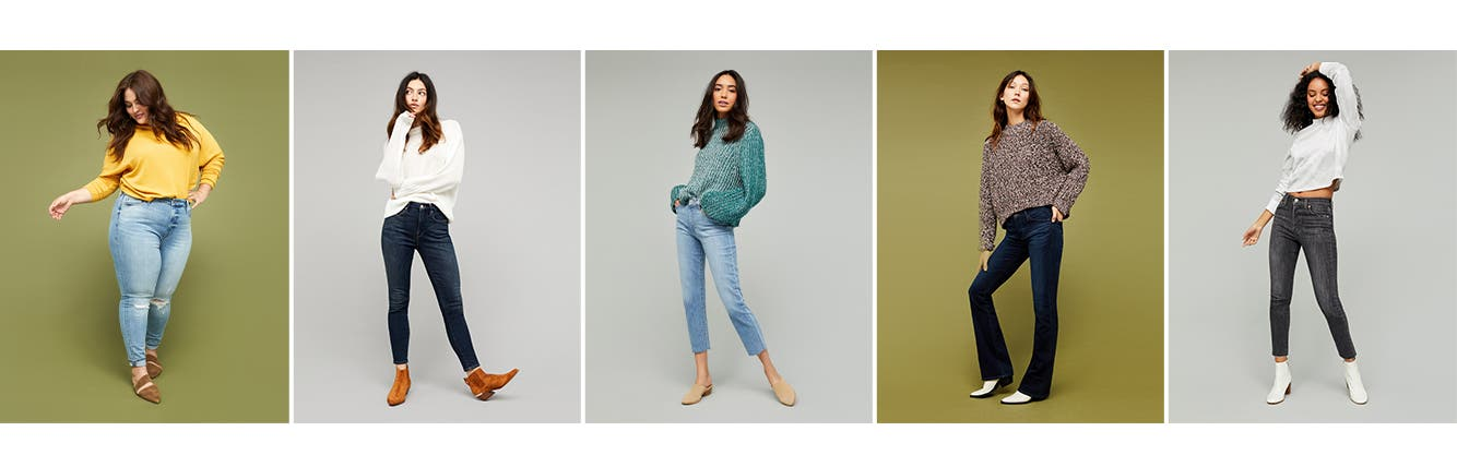 Women's jeans: high waisted, skinny, straight leg, flare and wide leg, and ankle.