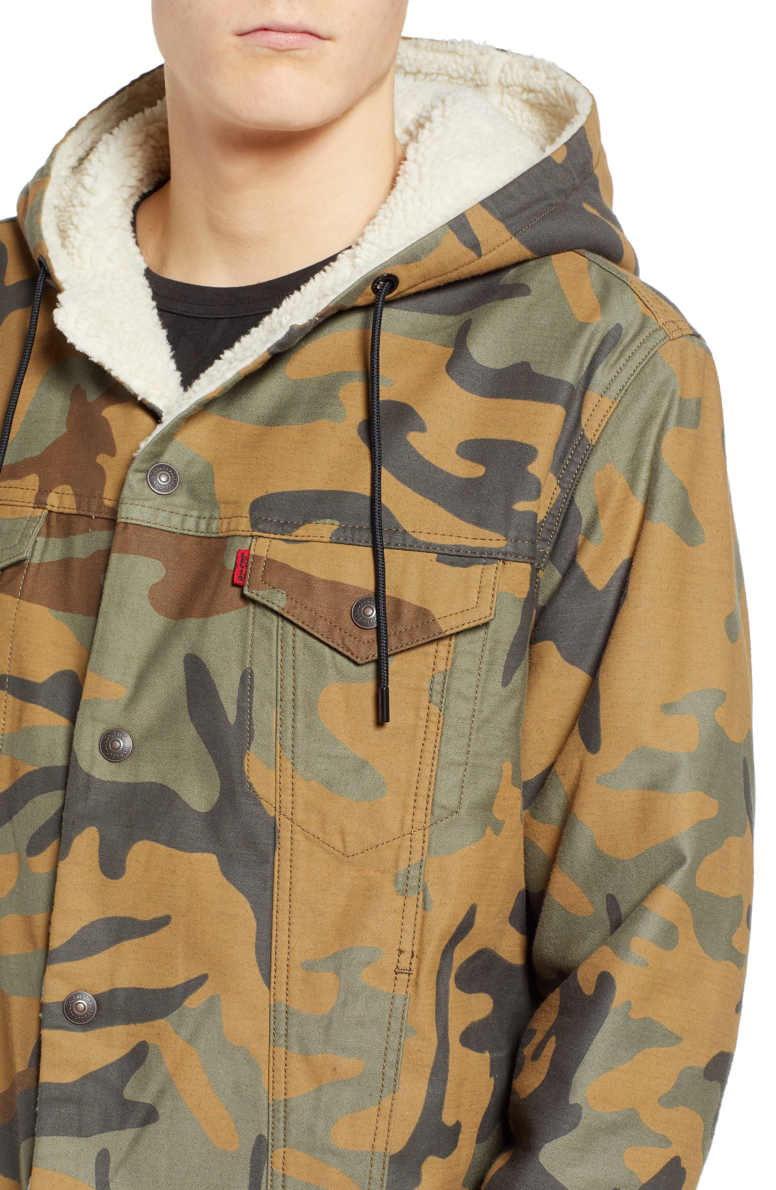 x Justin Timberlake Faux Shearling Hooded Trucker Jacket,                             Alternate thumbnail 6, color,                             CAMO