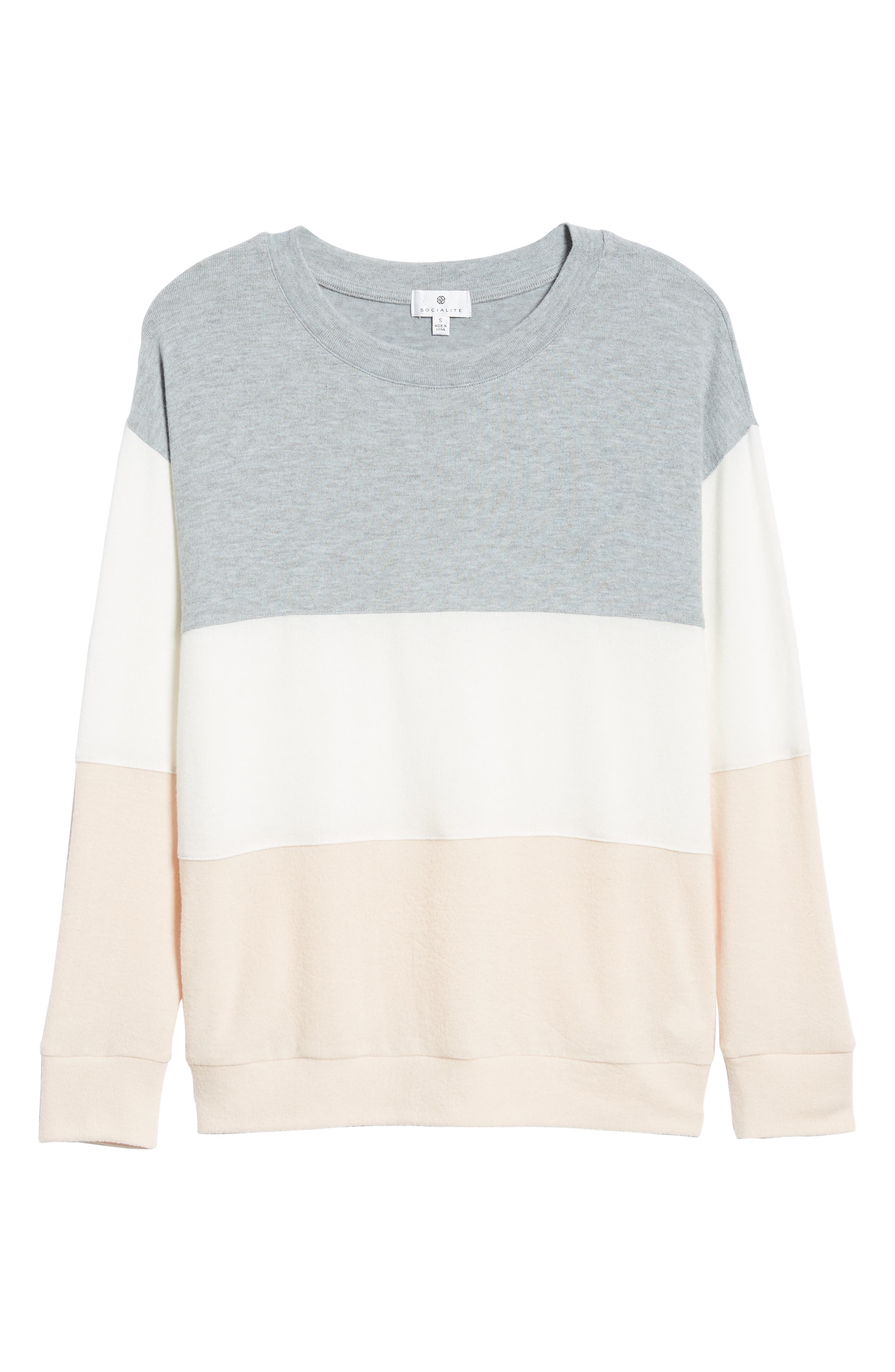 Colorblock Sweatshirt,                             Alternate thumbnail 6, color,                             GREY/ WHITE/ PINK