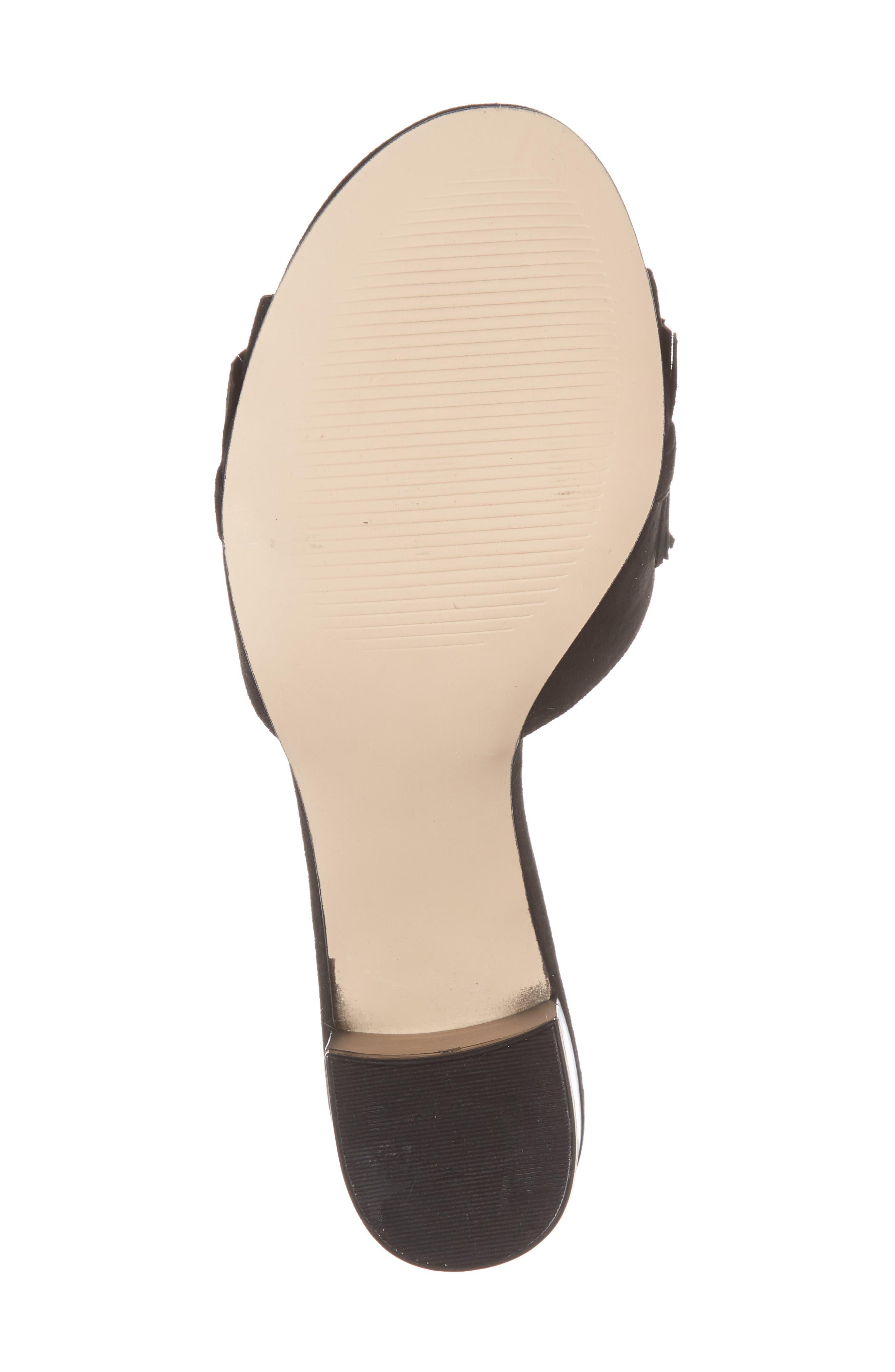 Zinnia Block Heel Slide Sandal,                             Alternate thumbnail 6, color,                             BLACK SUEDE