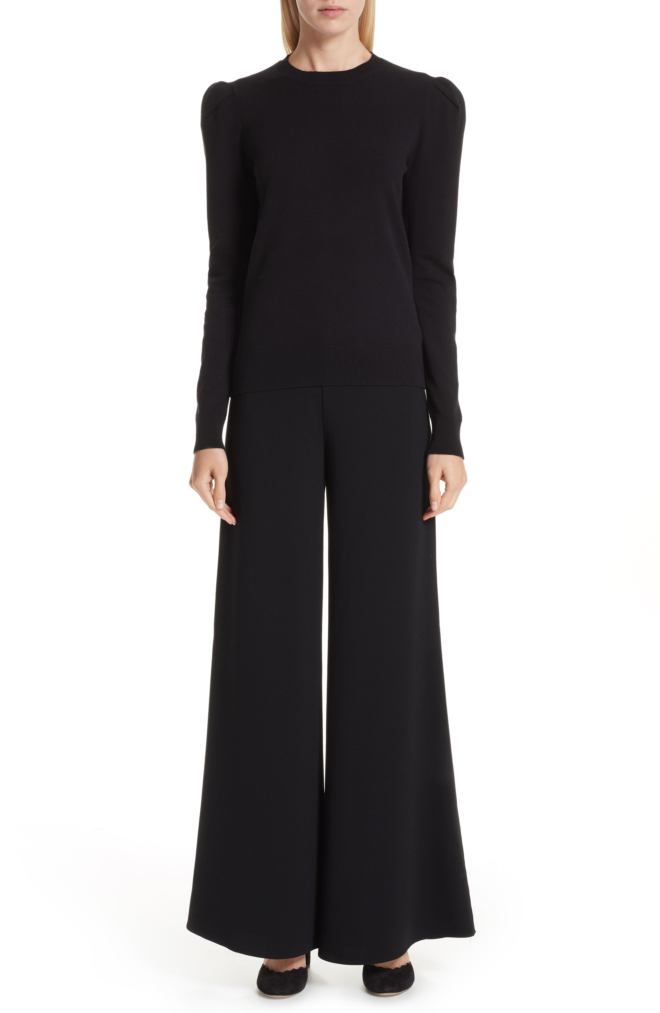 Wide Leg Pants,                             Alternate thumbnail 8, color,                             BLACK