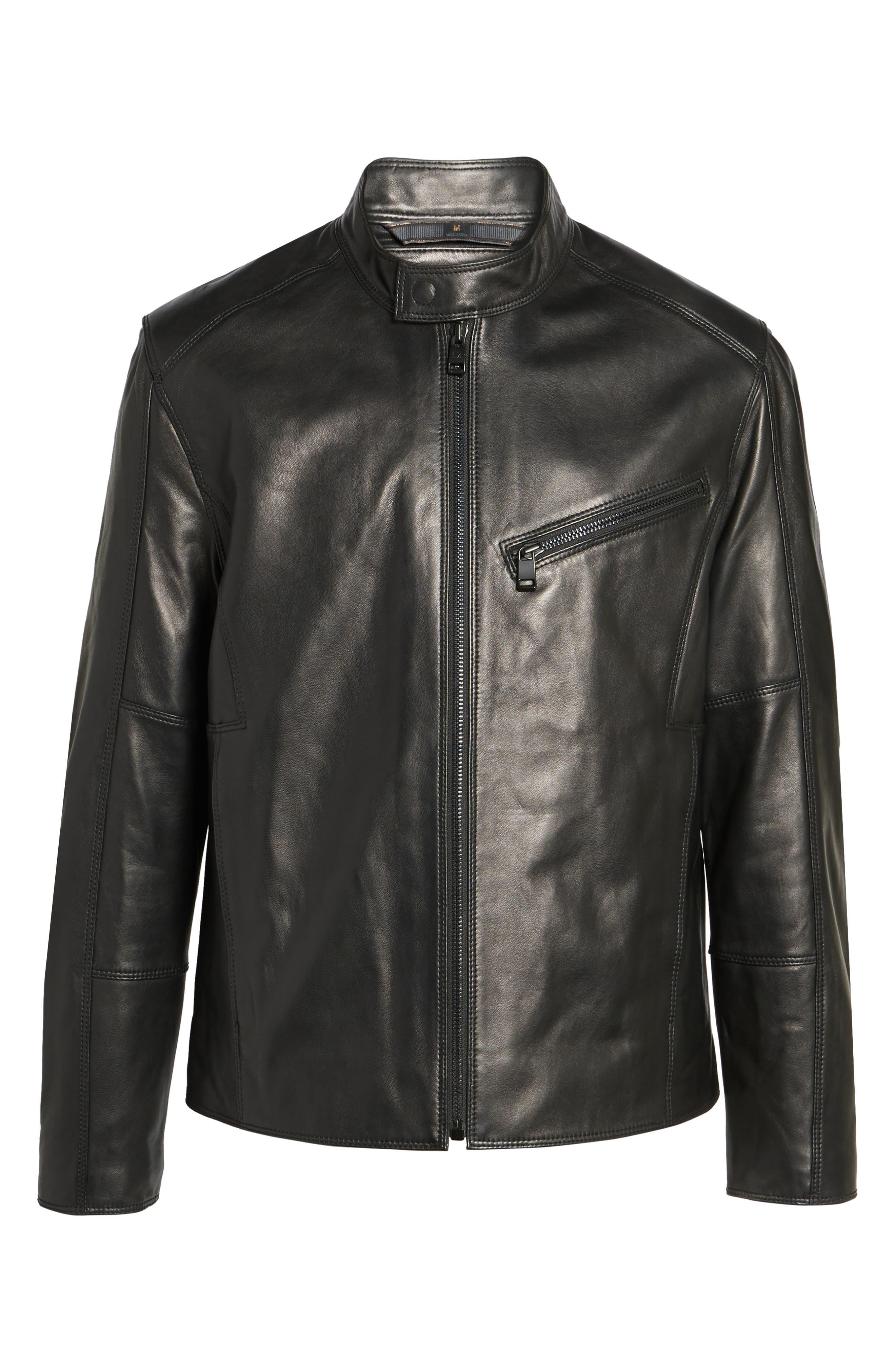 Gibson Slim Leather Moto Jacket,                             Alternate thumbnail 5, color,                             001