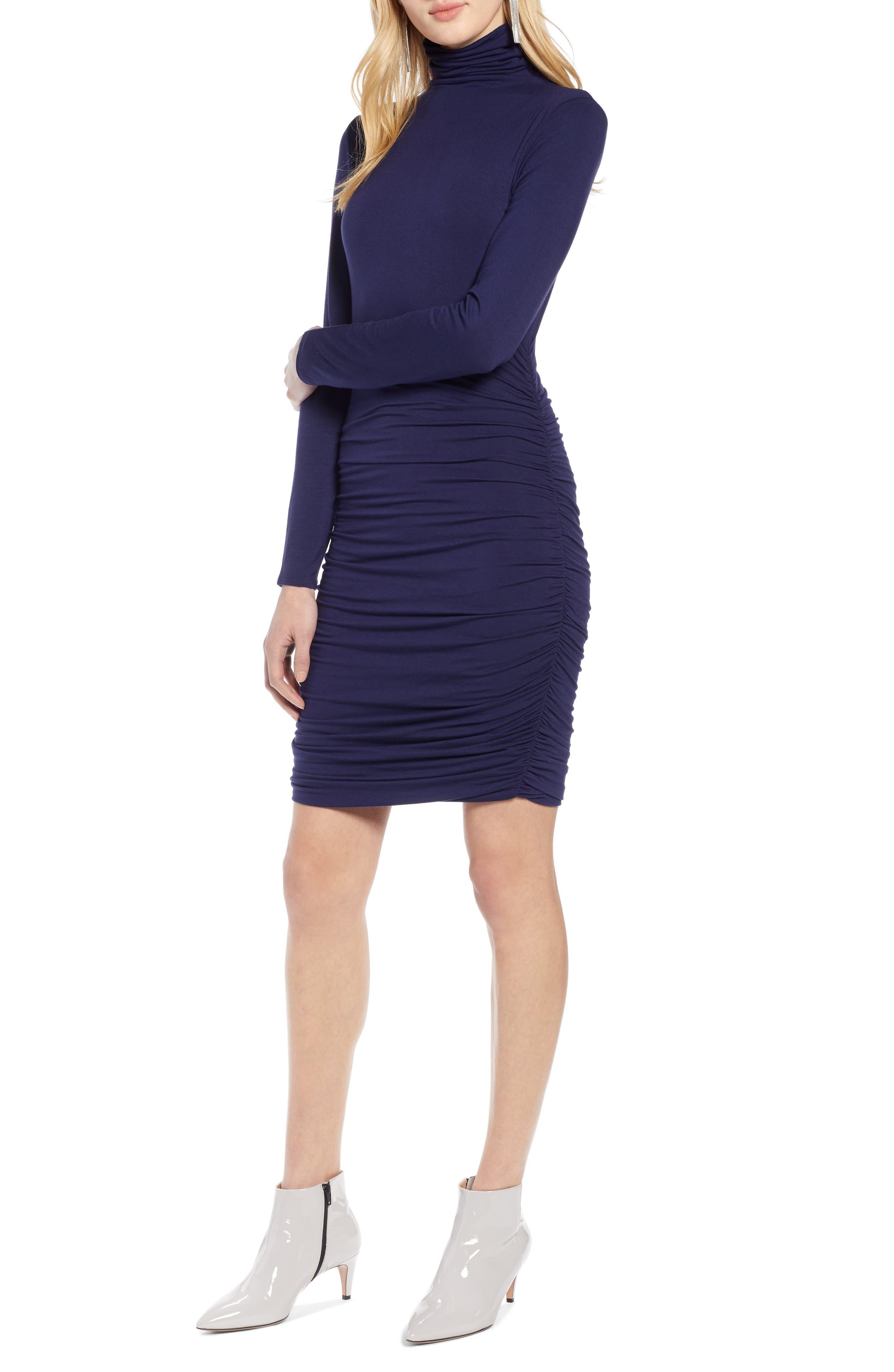 Halogen Side Ruched Turtleneck Dress, Blue
