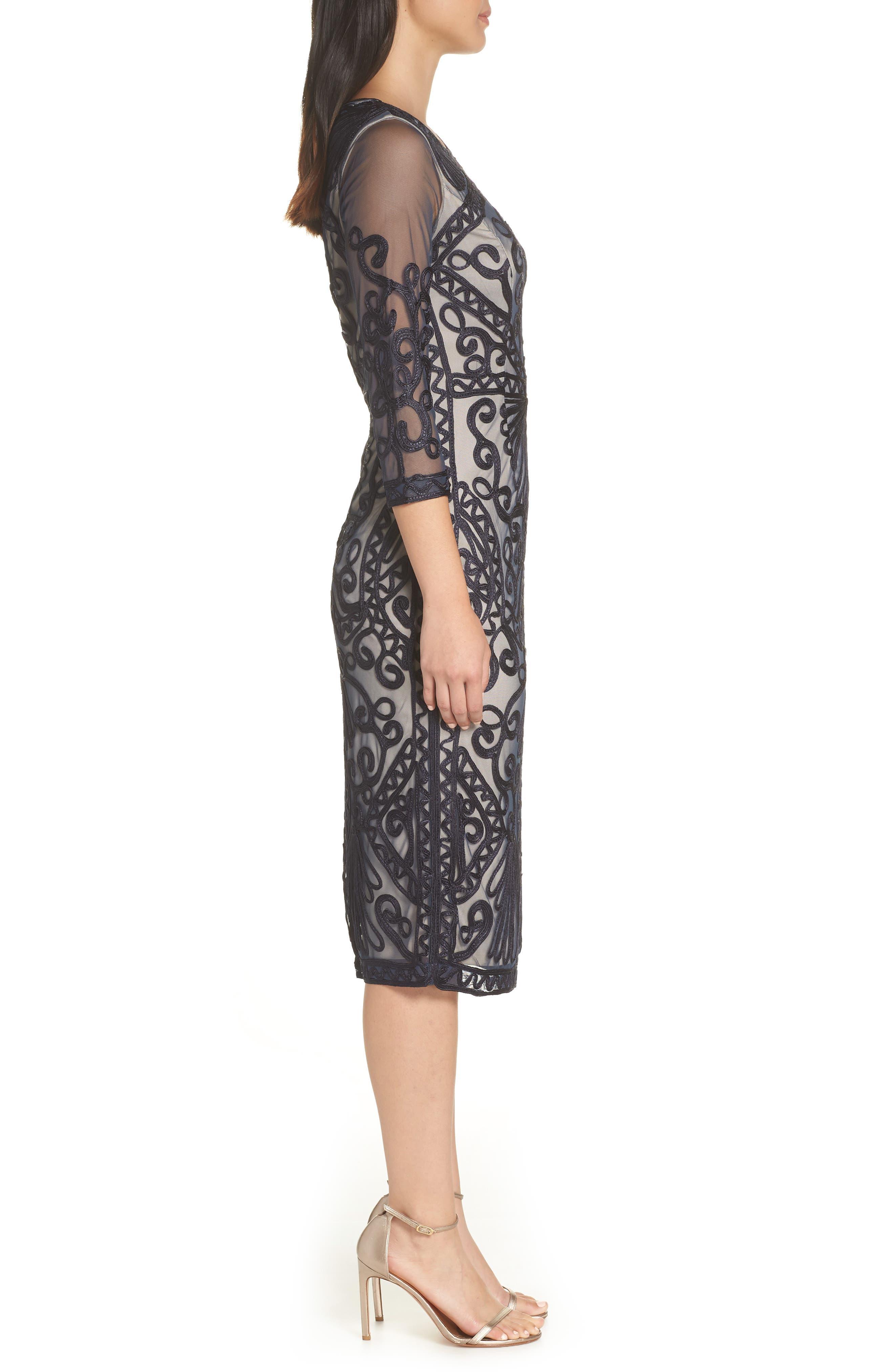 Sheer Sleeve Soutache Sheath Dress,                             Alternate thumbnail 3, color,                             NAVY/ NUDE