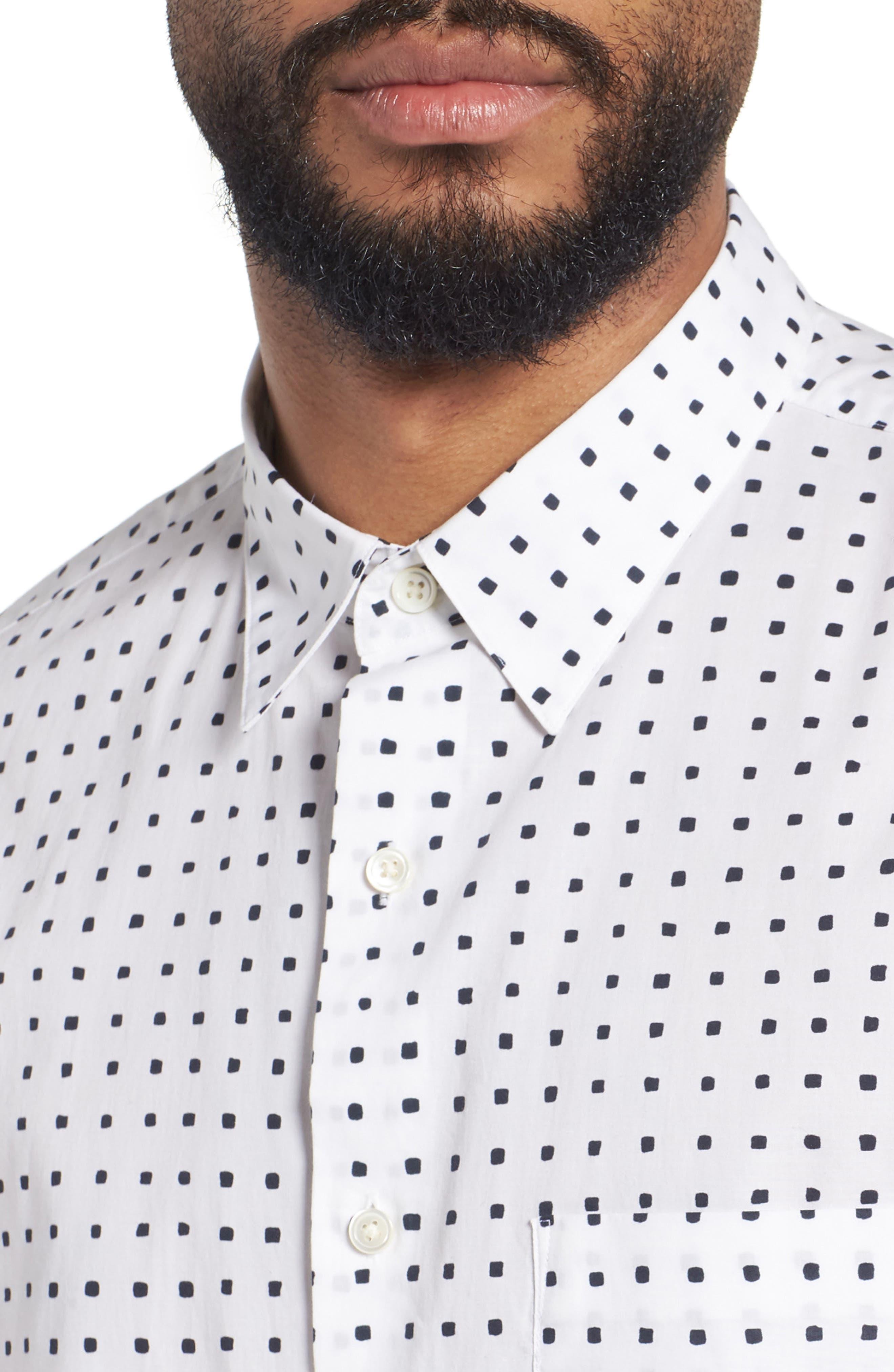Bruner Trim Fit Dot Short Sleeve Sport Shirt,                             Alternate thumbnail 4, color,                             110