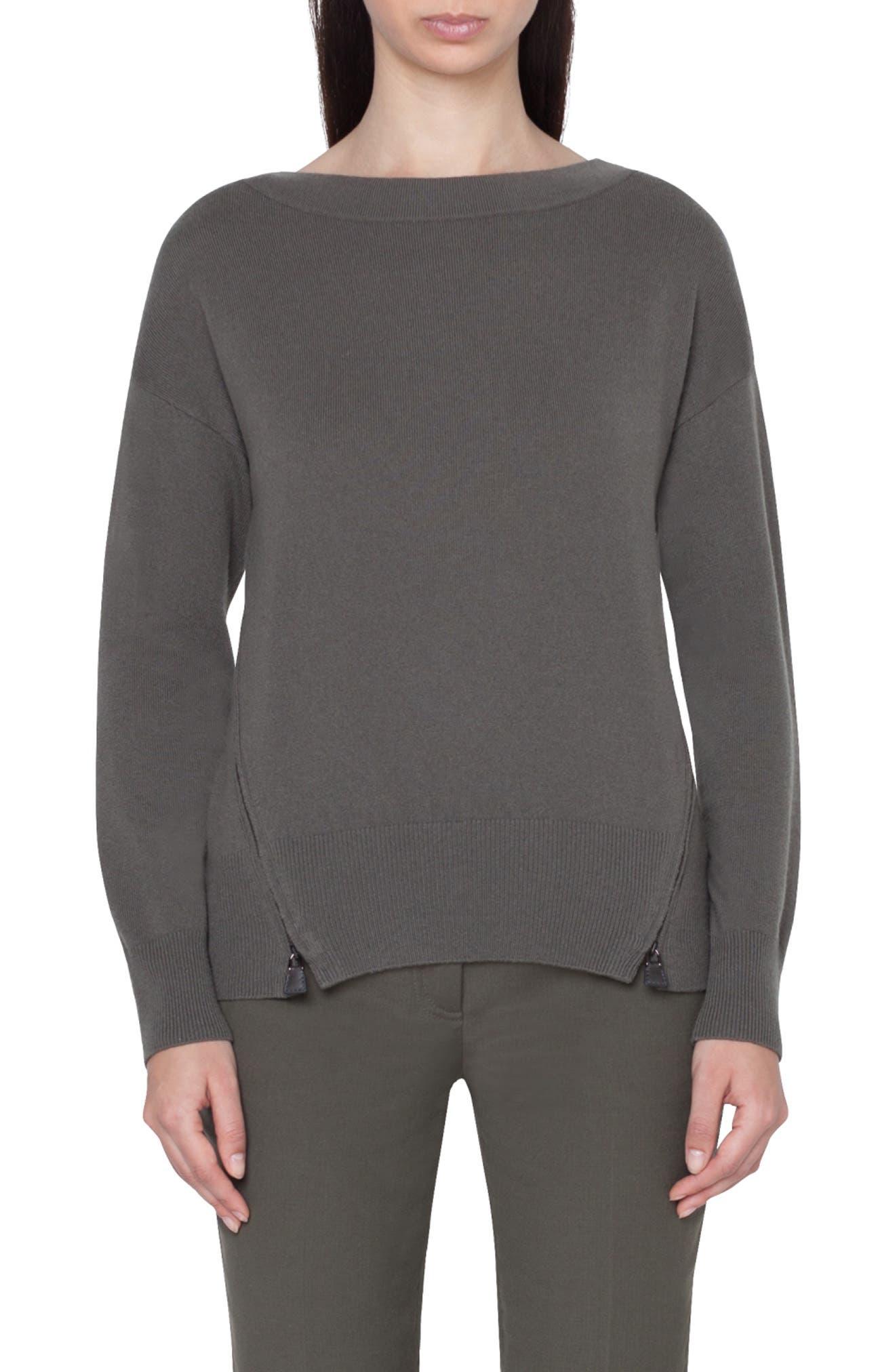 Zip Detail Cashmere Sweater, Main, color, MAGNET