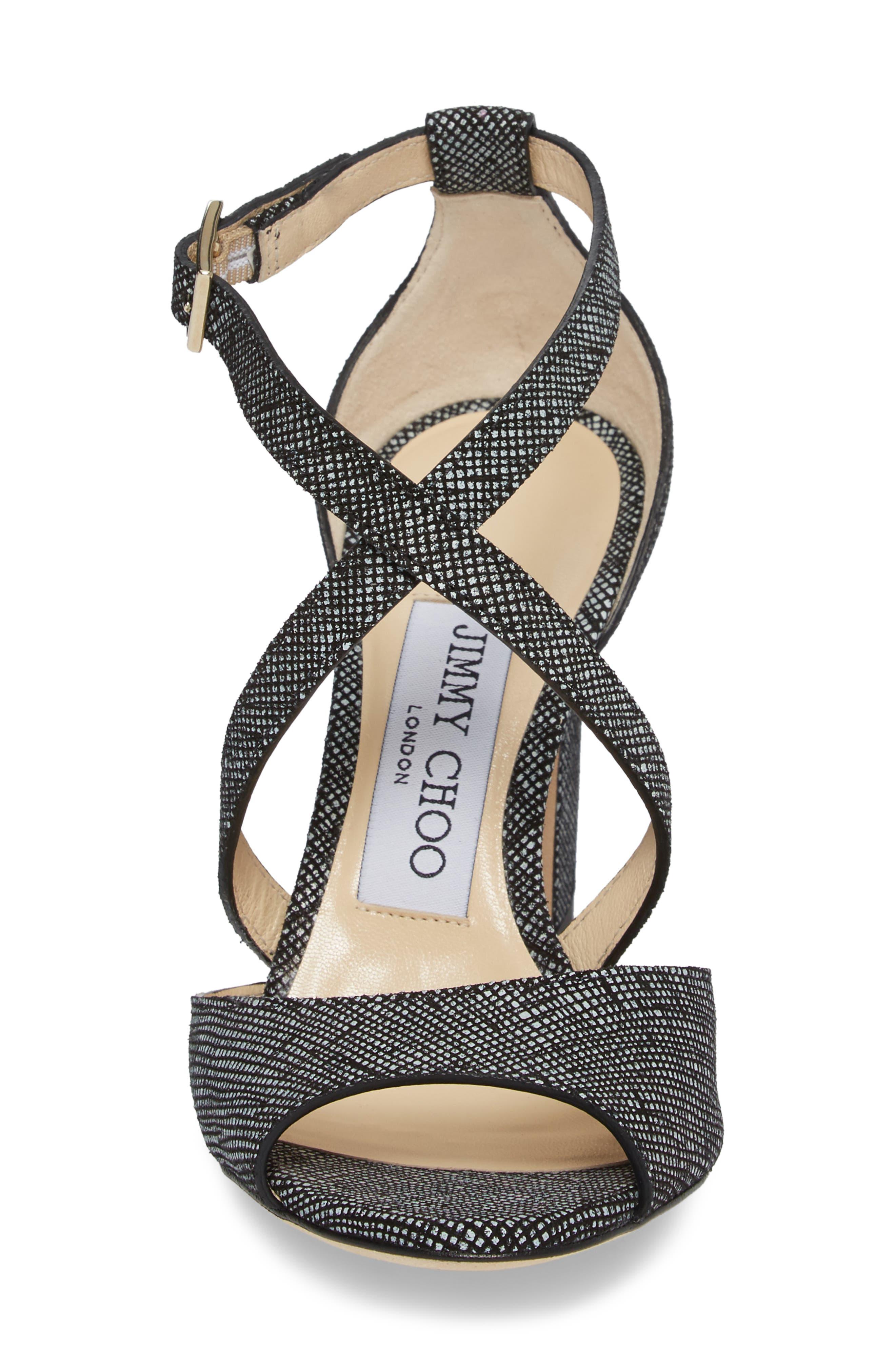 Carrie Cross Strap Sandal,                             Alternate thumbnail 4, color,                             001