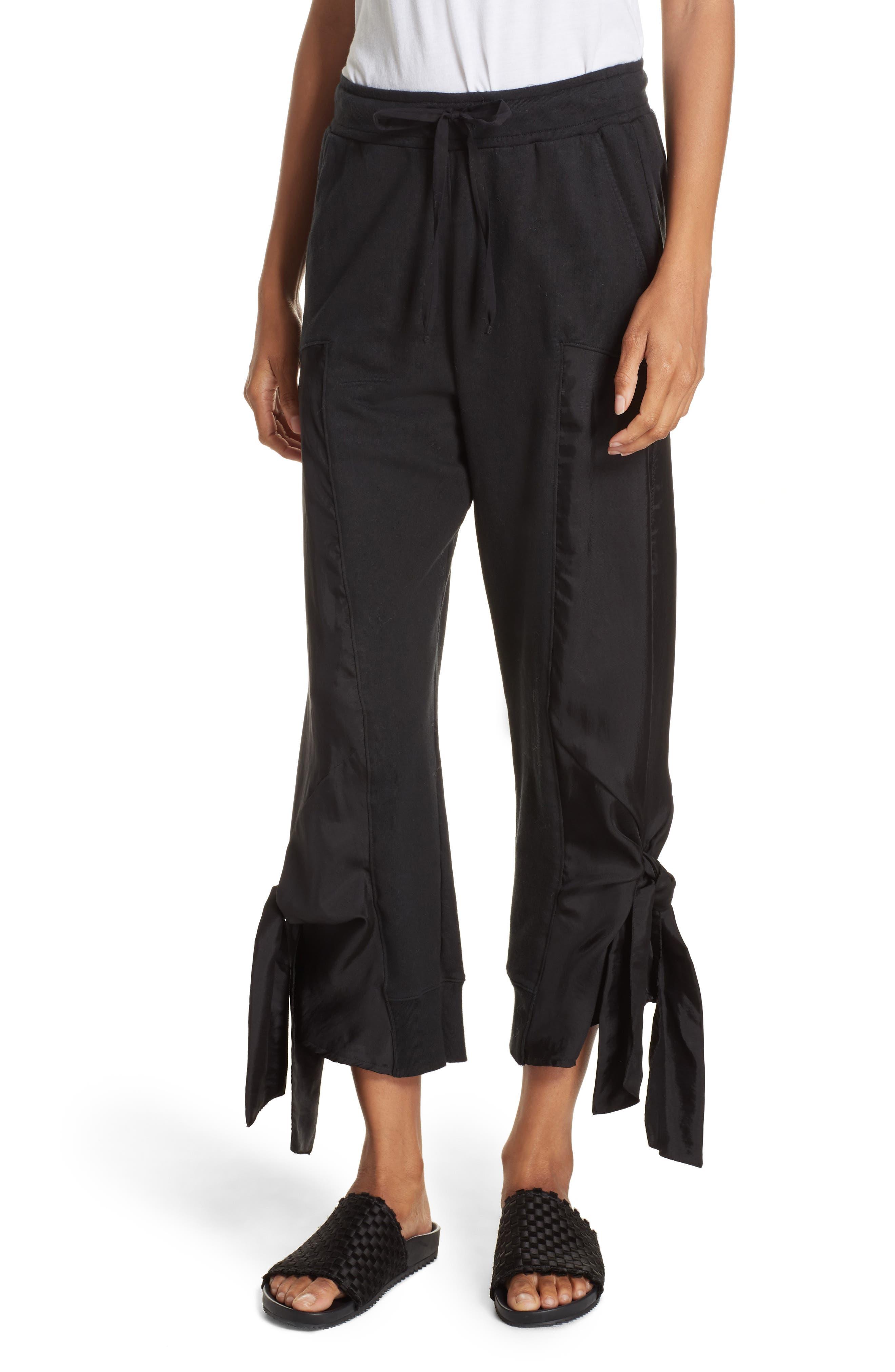 Side Tie Jogger Pants,                             Main thumbnail 1, color,                             BLACK