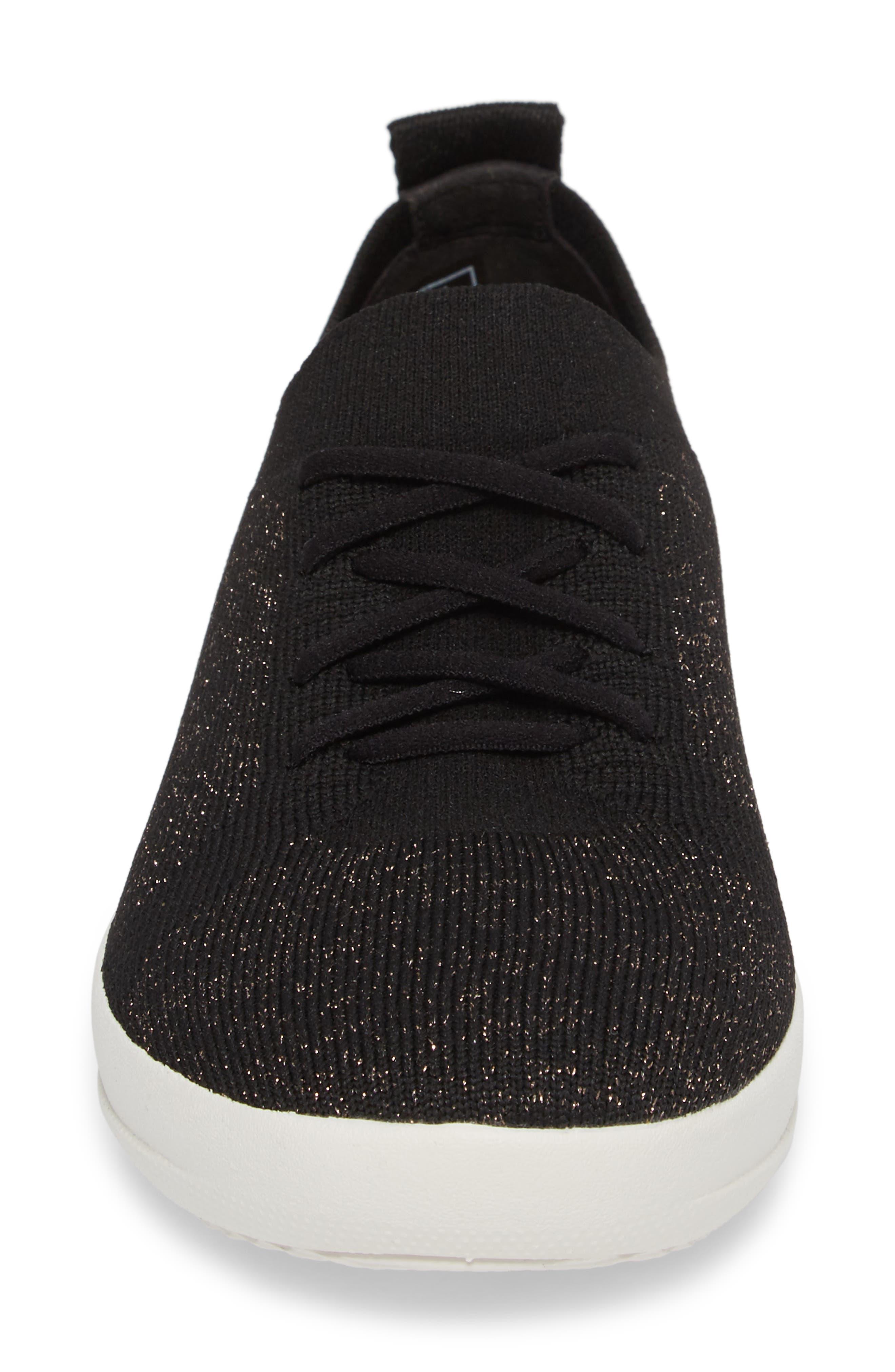 Uberknit<sup>™</sup> F-Sporty Sneaker,                             Alternate thumbnail 4, color,                             BLACK FABRIC