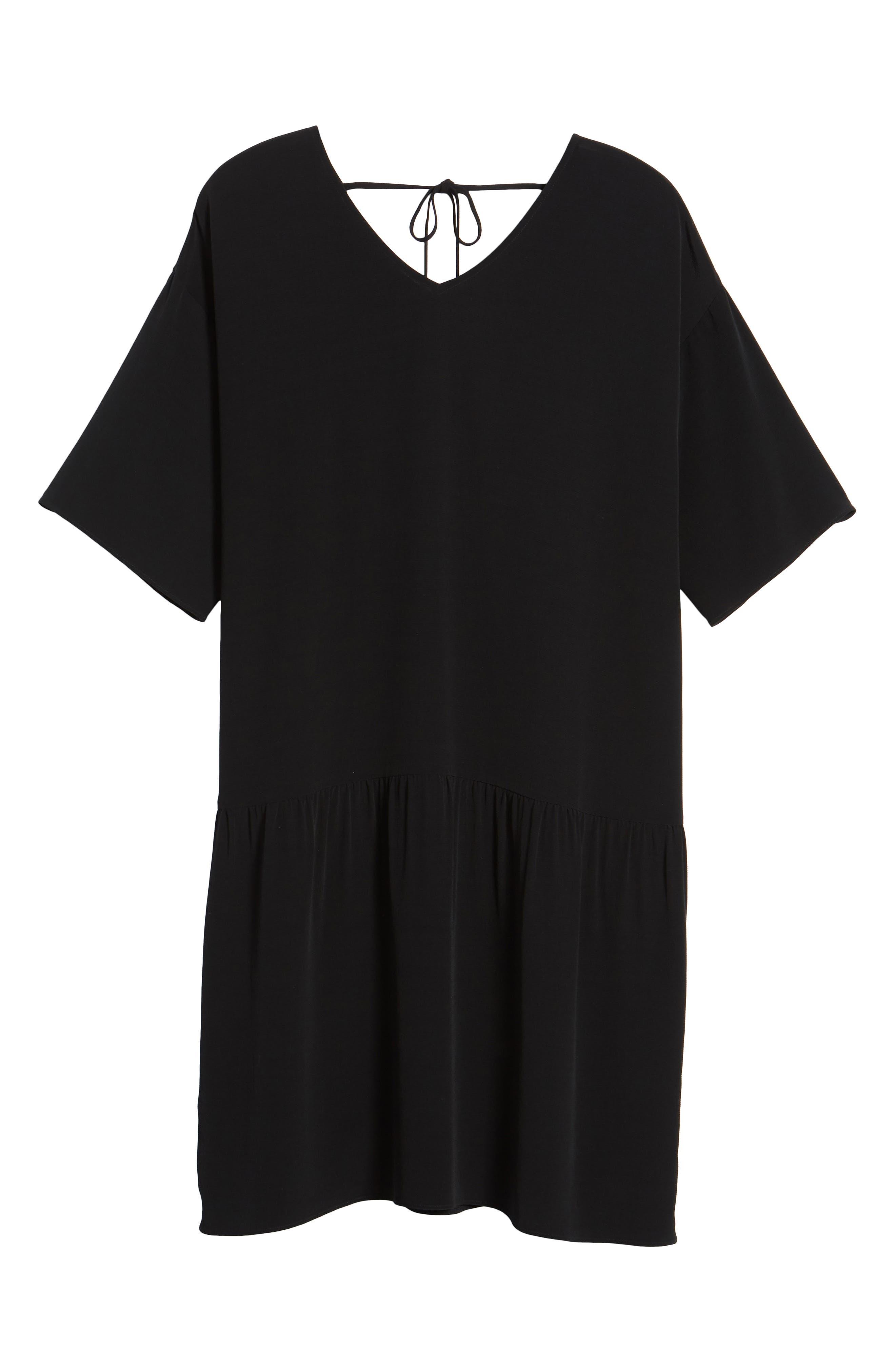 Drop Waist Tencel<sup>®</sup> Lyocell Blend Dress,                             Alternate thumbnail 7, color,                             001