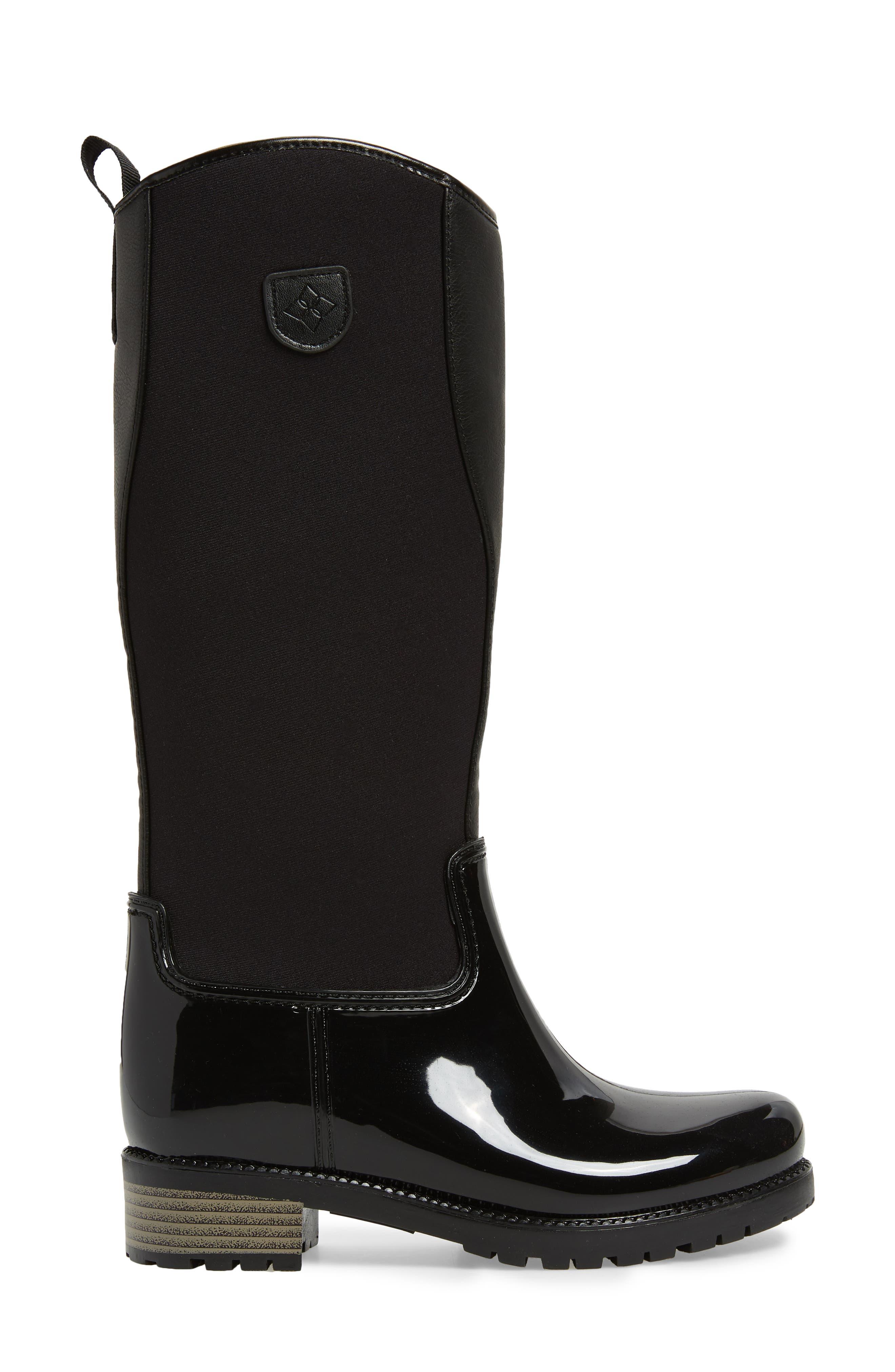 Parma 2 Tall Waterproof Rain Boot,                             Alternate thumbnail 3, color,                             BLACK FABRIC