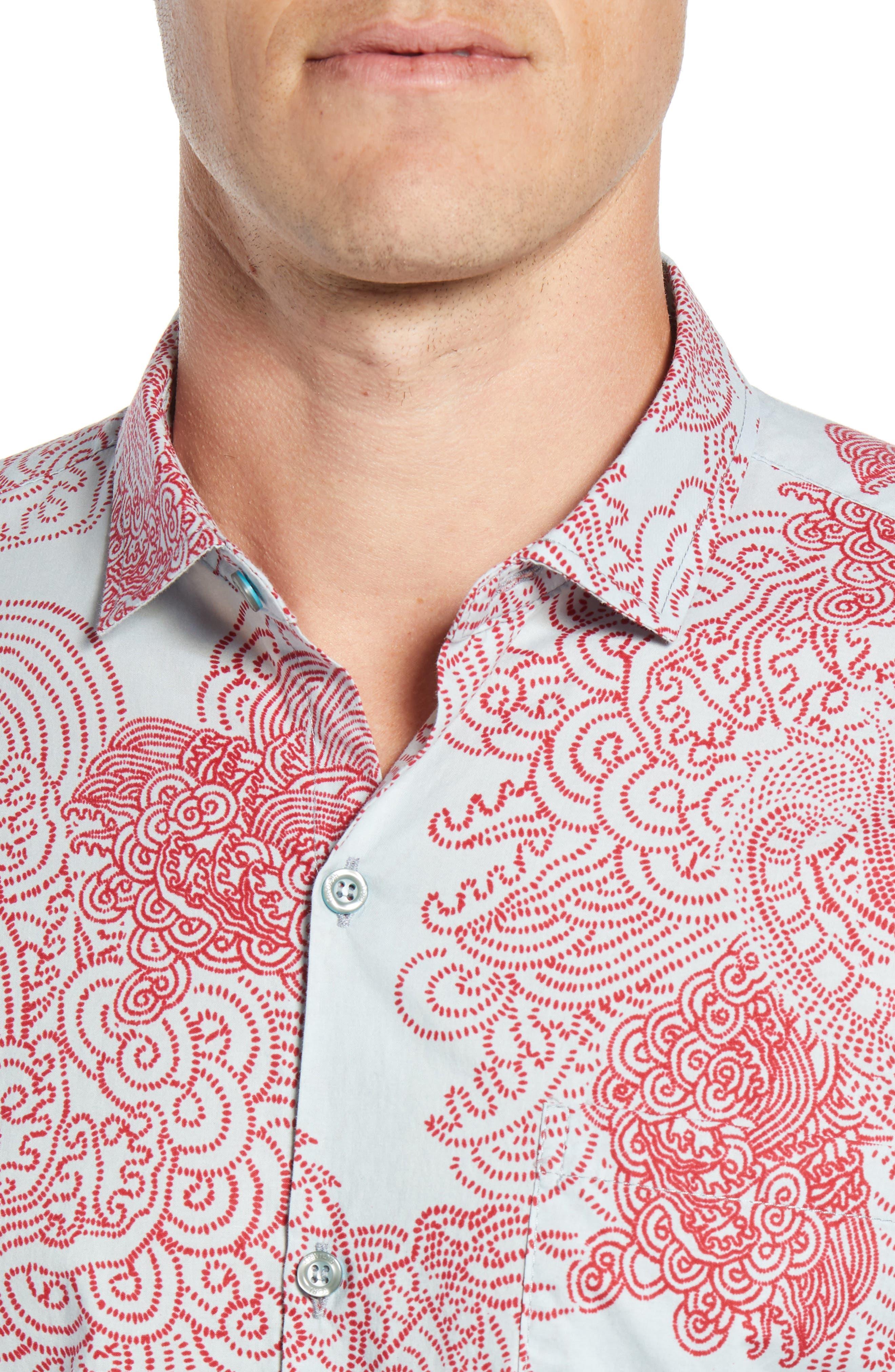 Enter Dragon Trim Fit Sport Shirt,                             Alternate thumbnail 4, color,                             BLUE FROST