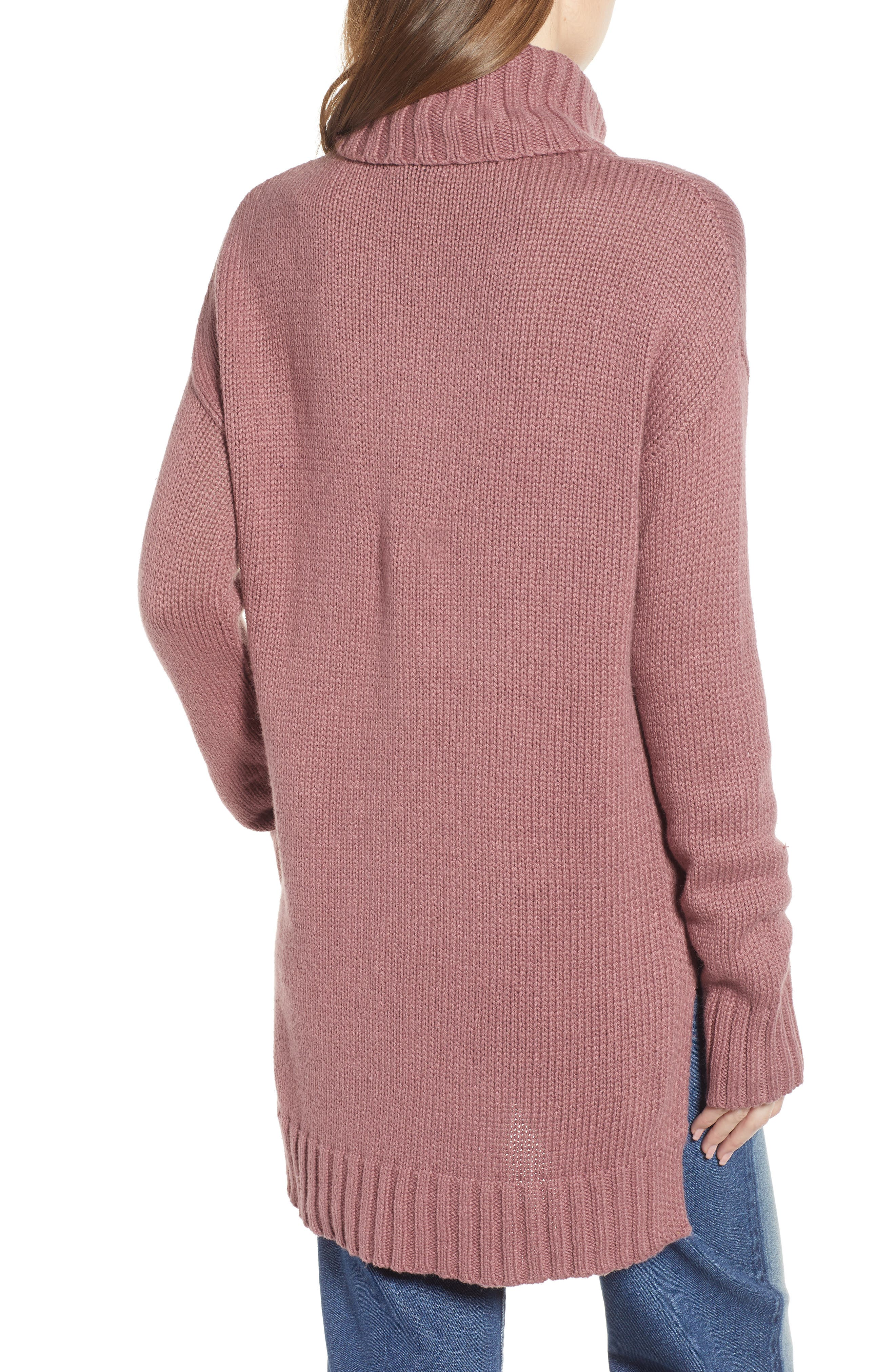 High/Low Turtleneck Sweater,                             Alternate thumbnail 2, color,                             PURPLE TAUPE