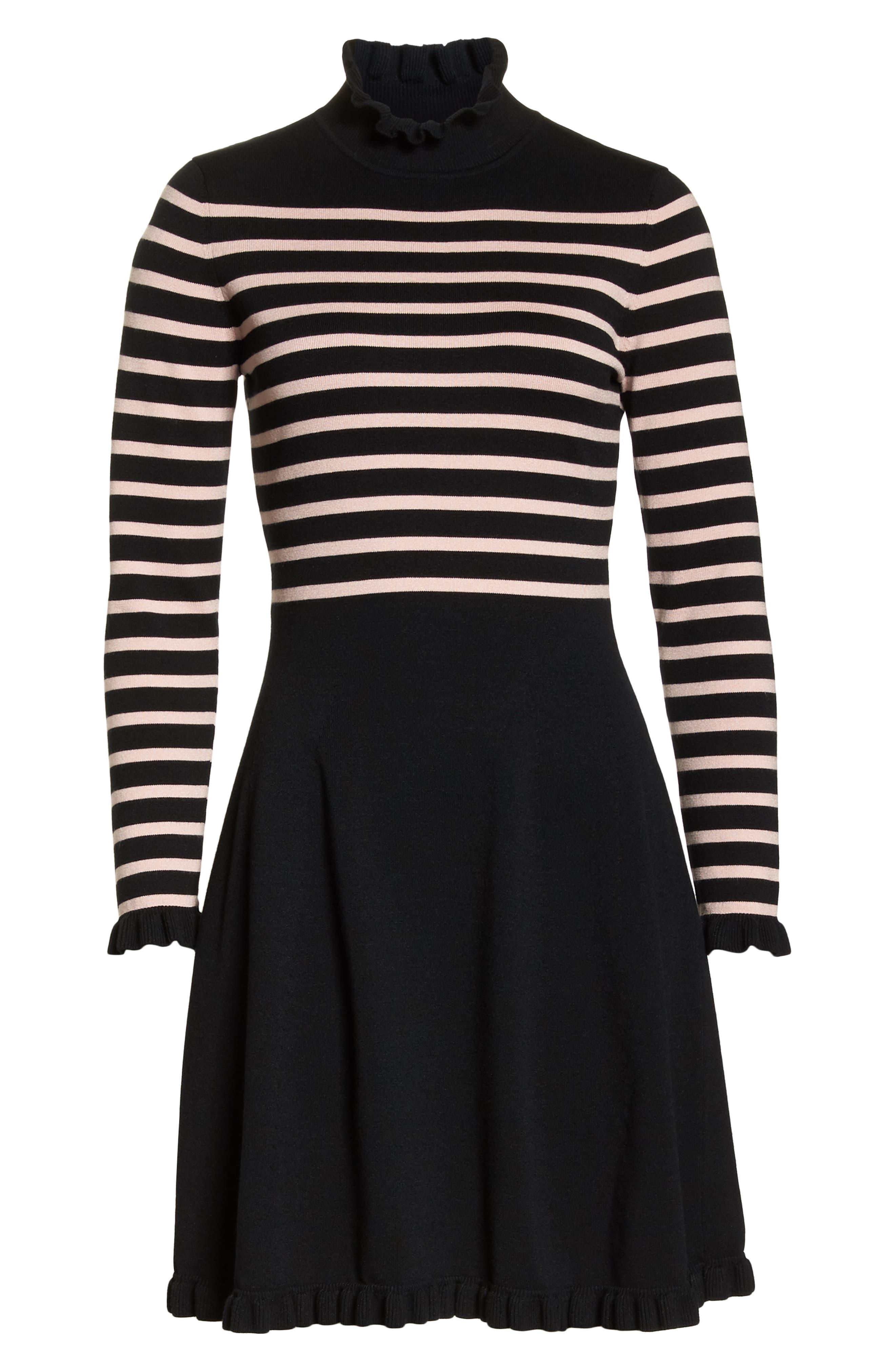 1901,                             Mock Neck Stripe Sweater Dress,                             Alternate thumbnail 7, color,                             BLACK- PINK STRIPE