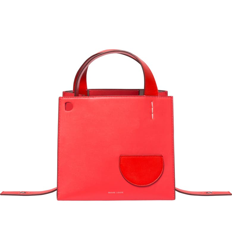 Danse Lente MARGOT LEATHER & GENUINE SHEARLING TOTE BAG - RED