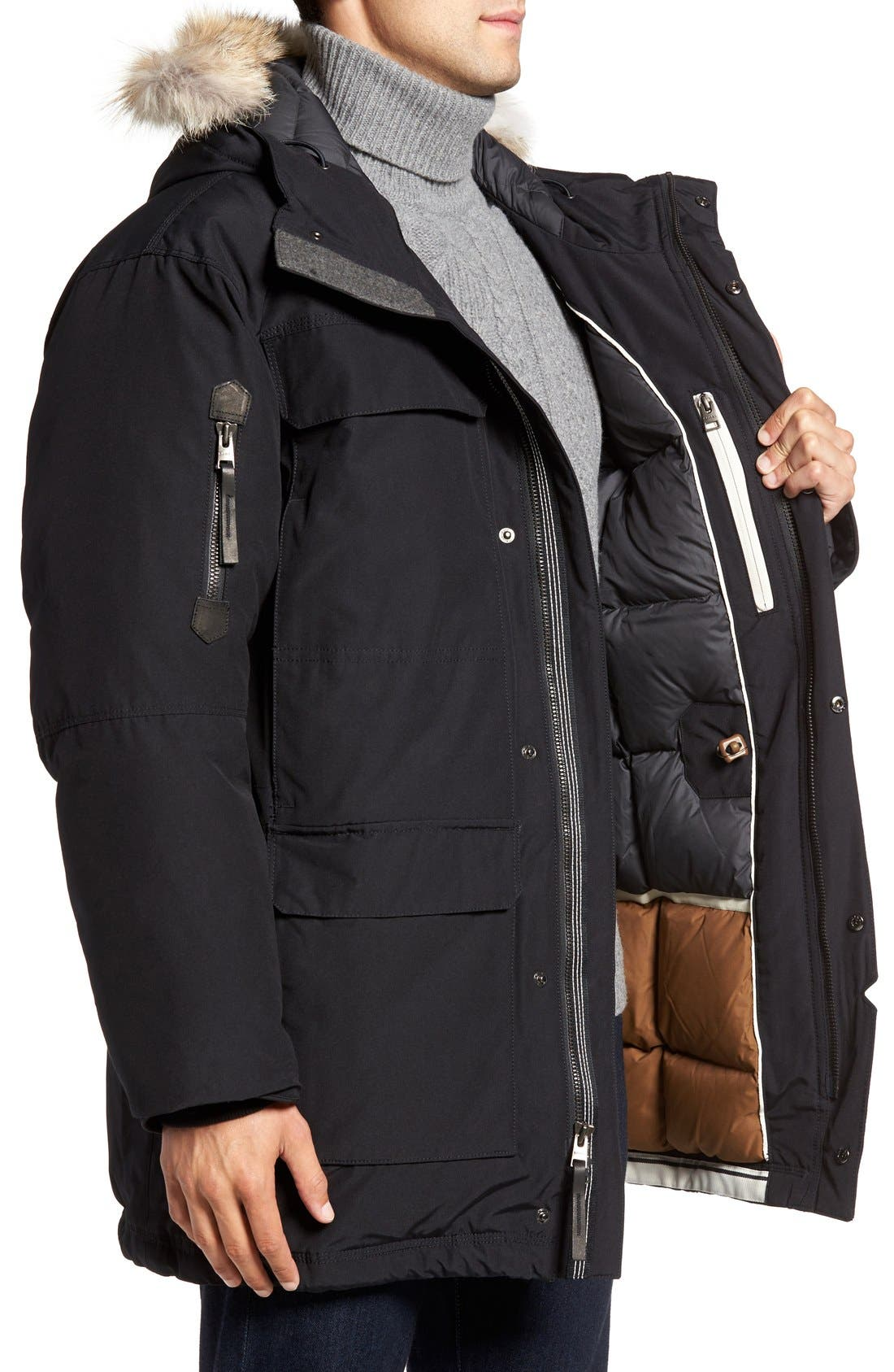 Caribou Water Resistant Down Parka with Genuine Coyote Fur Trim,                             Alternate thumbnail 5, color,                             010