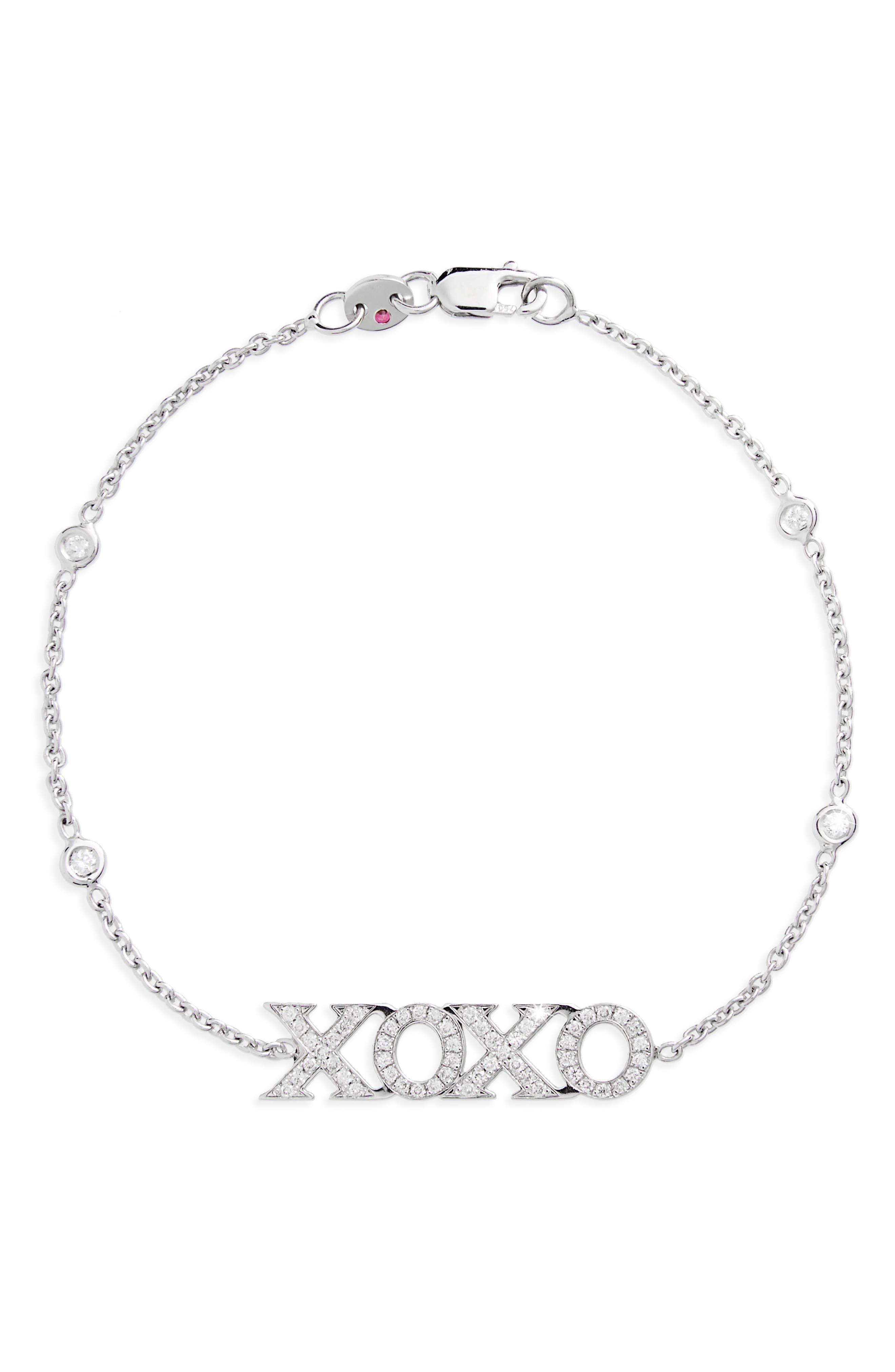 XOXO Diamond Bracelet,                             Main thumbnail 1, color,                             WHITE GOLD