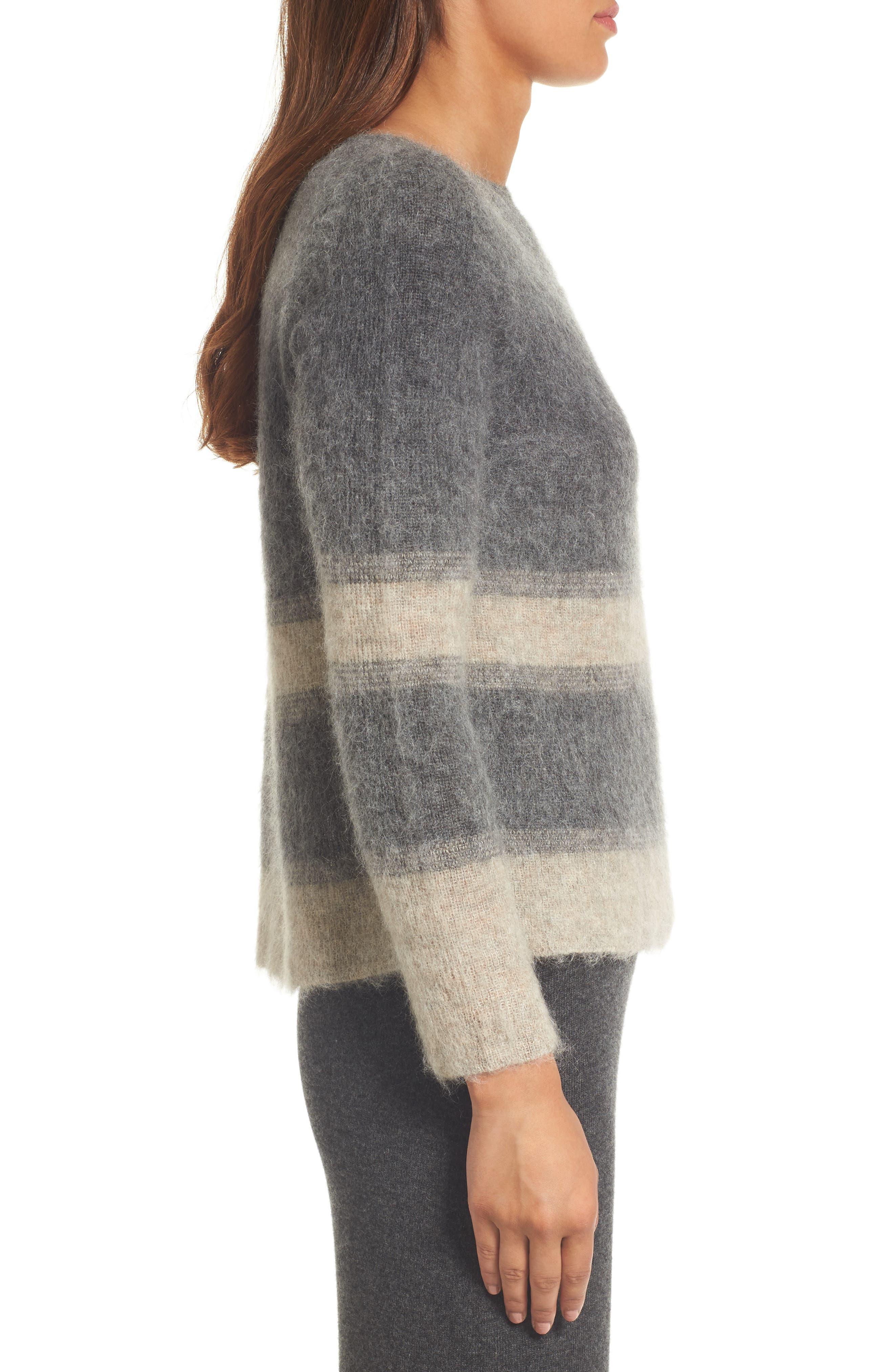 Stripe Mohair & Alpaca Blend Bateau Neck Sweater,                             Alternate thumbnail 3, color,