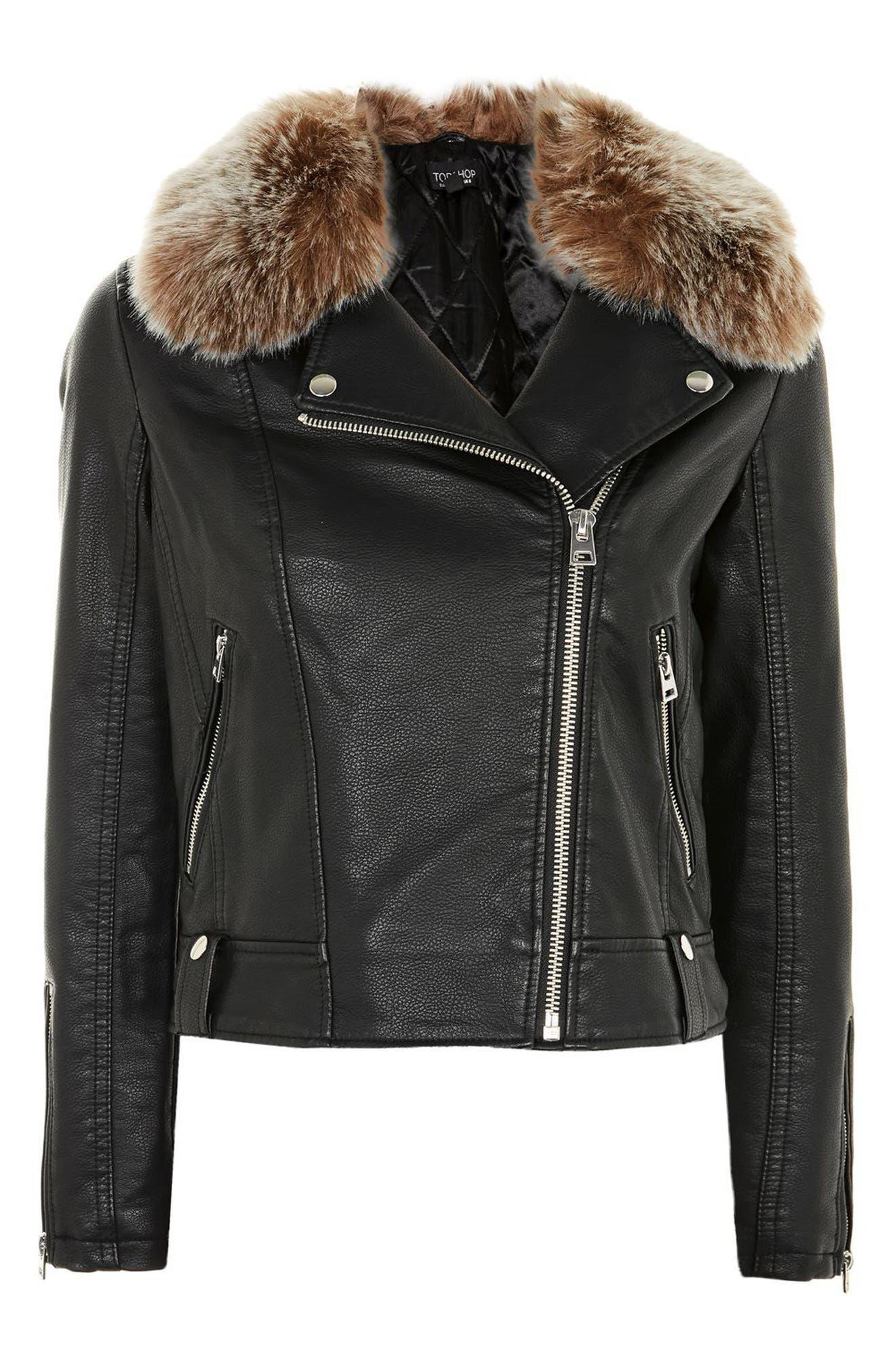 Rayne Faux Fur Trim Biker Jacket,                             Alternate thumbnail 5, color,                             001