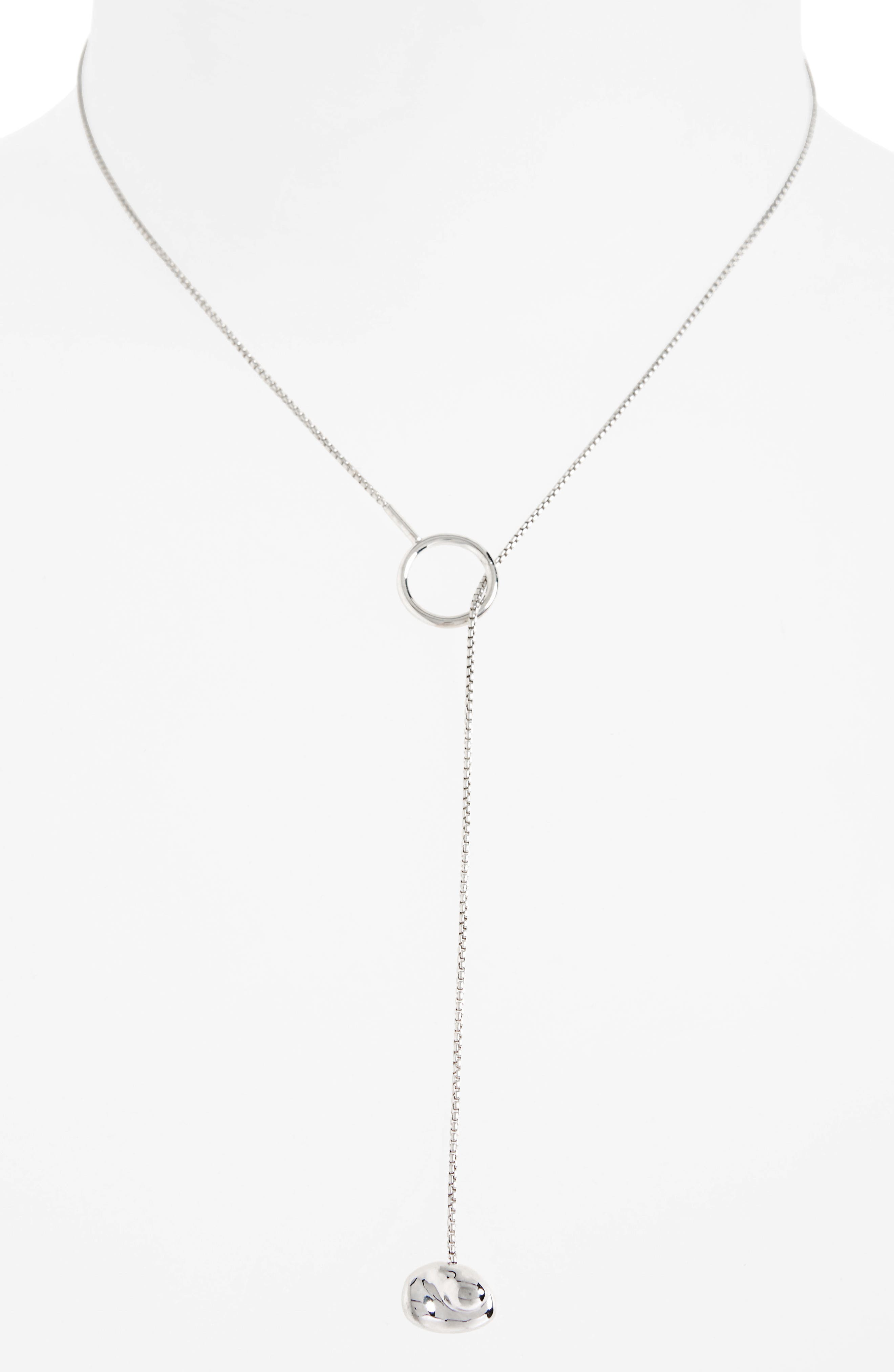 Luro Lariat Necklace,                             Alternate thumbnail 2, color,                             STERLING SILVER