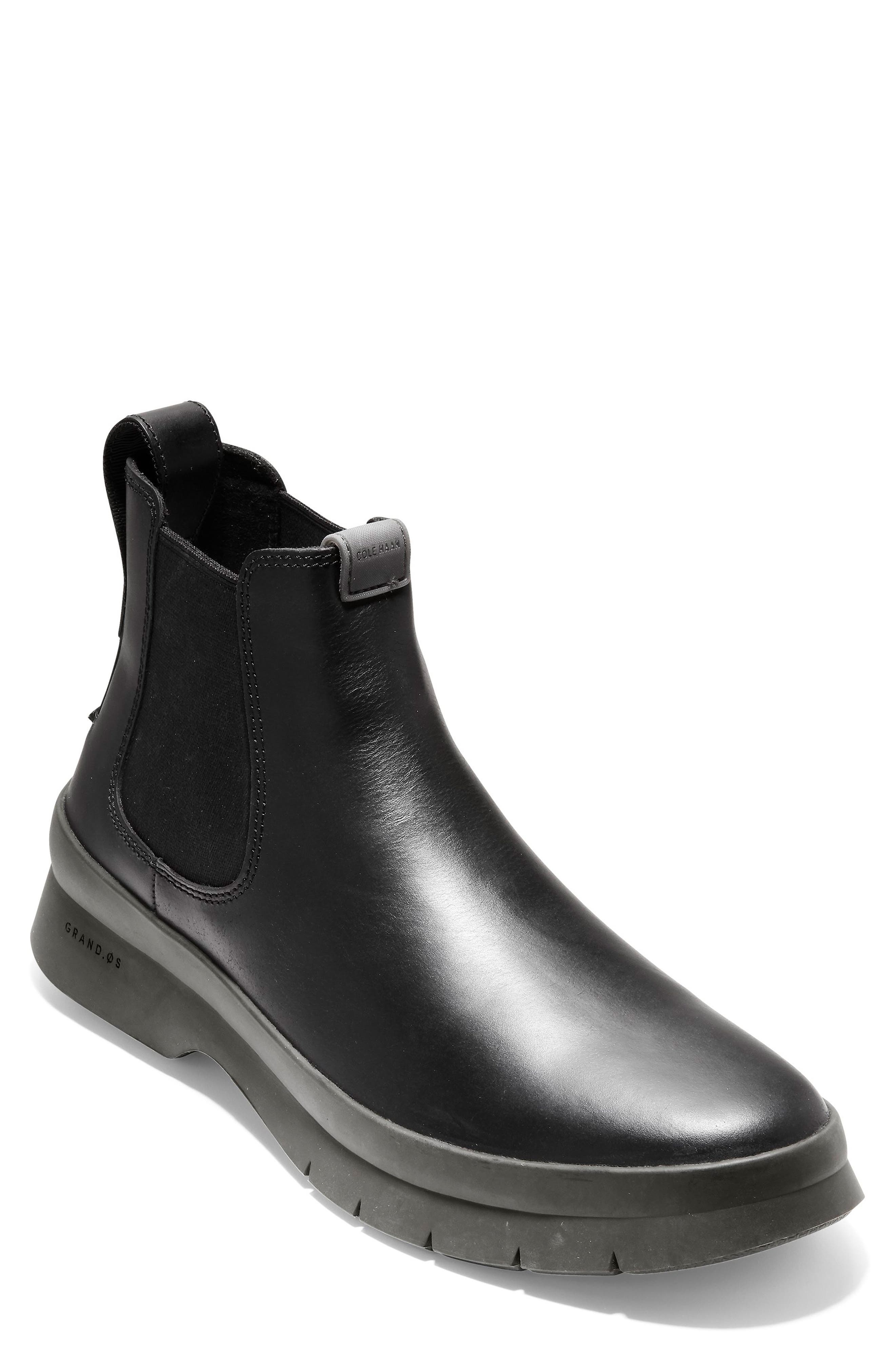Pinch Utility Waterproof Chelsea Boot,                             Main thumbnail 1, color,                             BLACK/ HAZEL LEATHER