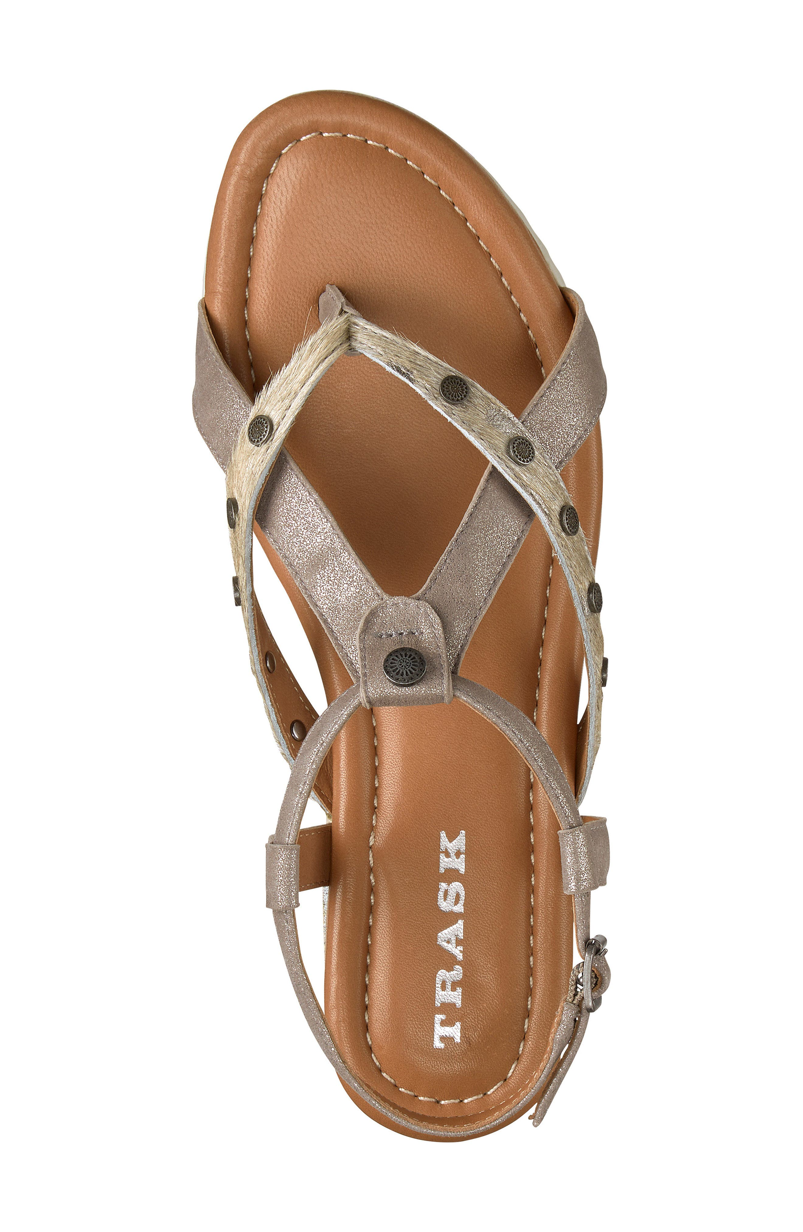 Shayla Water Resistant Sandal,                             Alternate thumbnail 5, color,                             PEWTER/ BONE SUEDE