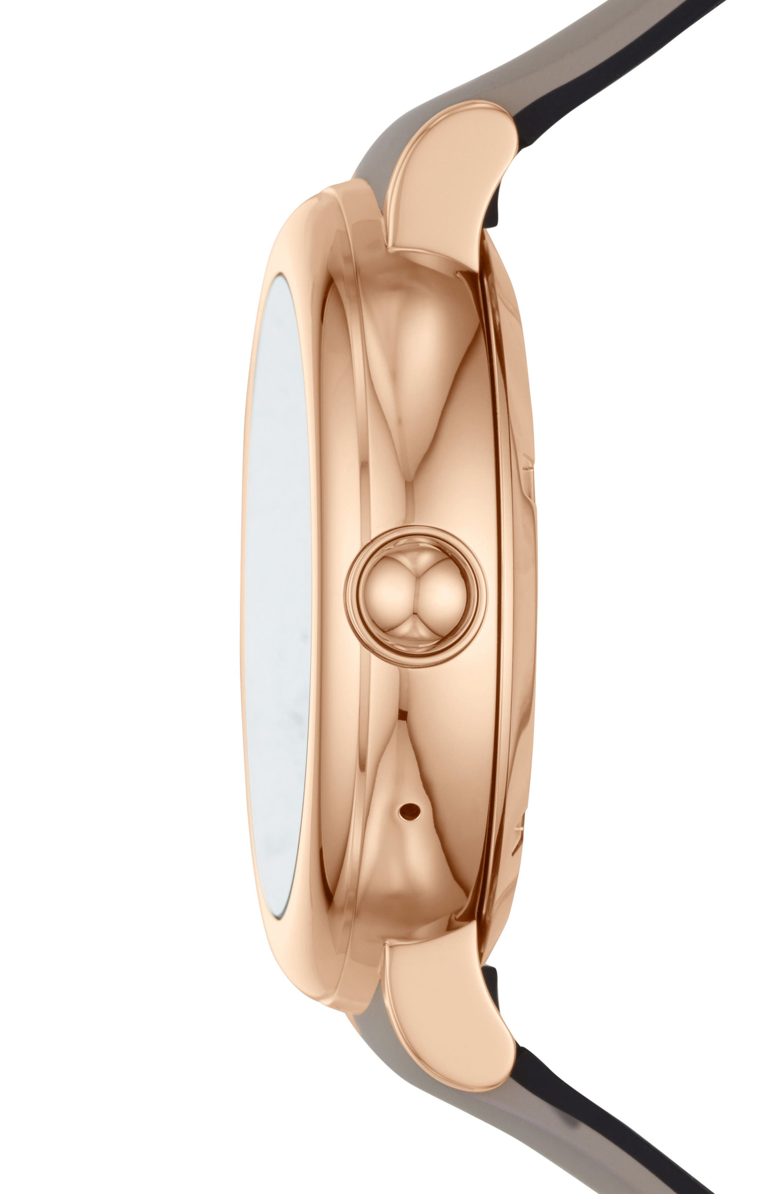 Riley Silcone Strap Smart Watch, 44mm,                             Alternate thumbnail 3, color,                             TAUPE/ ROSE GOLD