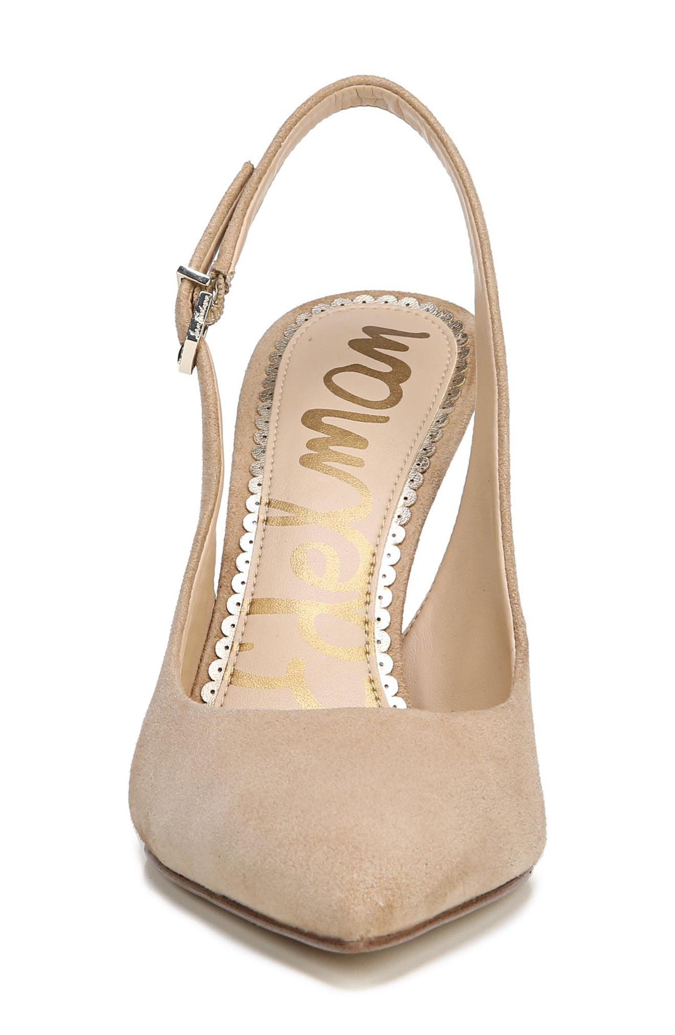 Hastings Slingback Pump,                             Alternate thumbnail 4, color,                             OATMEAL SUEDE LEATHER