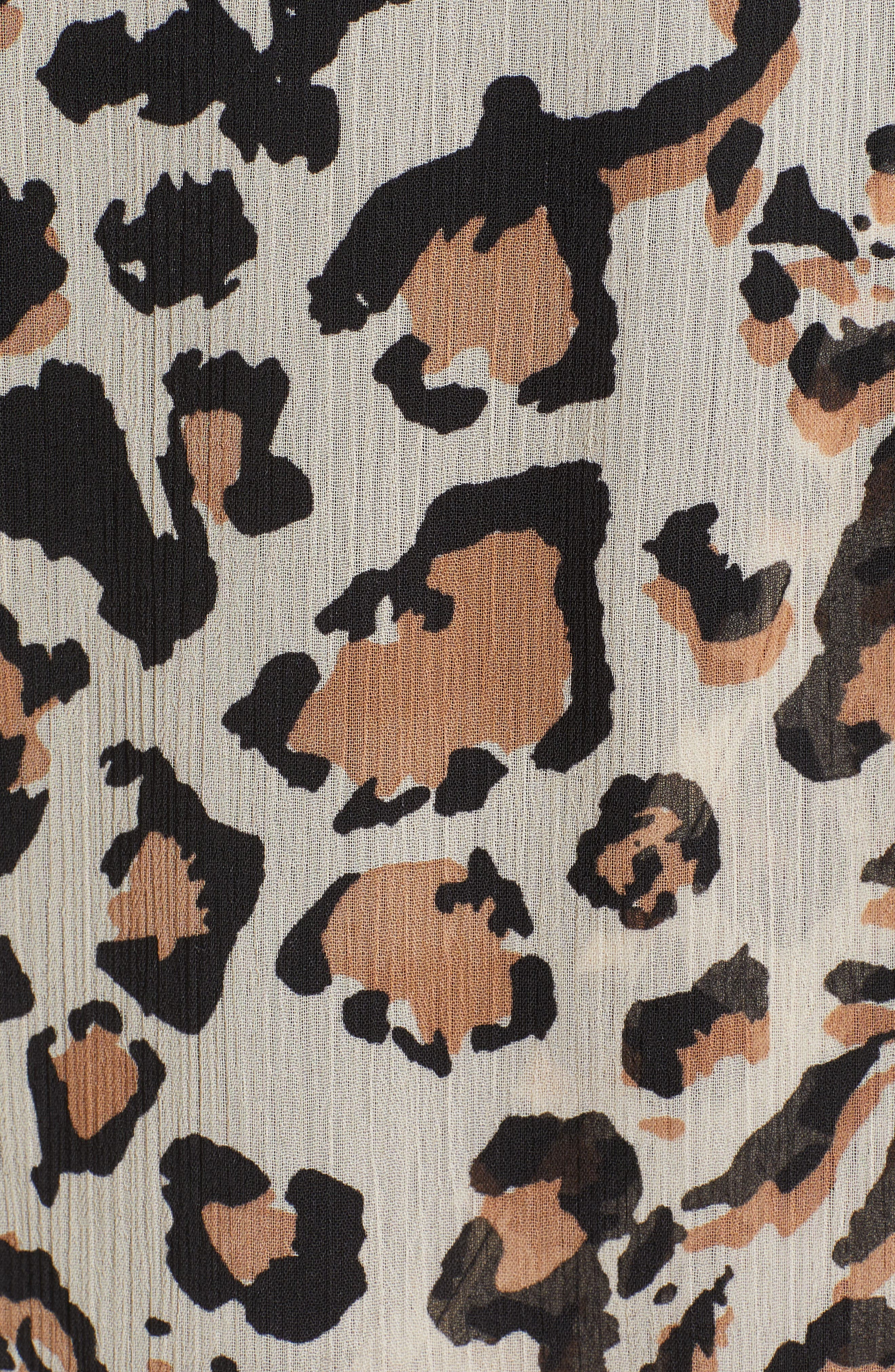 WIT & WISDOM,                             Smocked Ruffle Sleeve Blouse,                             Alternate thumbnail 5, color,                             TAN/ BLACK